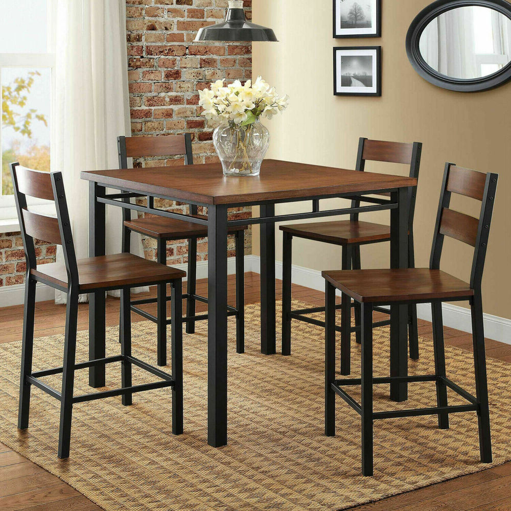 Latest Denzel 5 Piece Counter Height Breakfast Nook Dining Sets Intended For 5 Piece Counter Height Dining Set 4 Chairs Table Kitchen Breakfast (View 15 of 25)