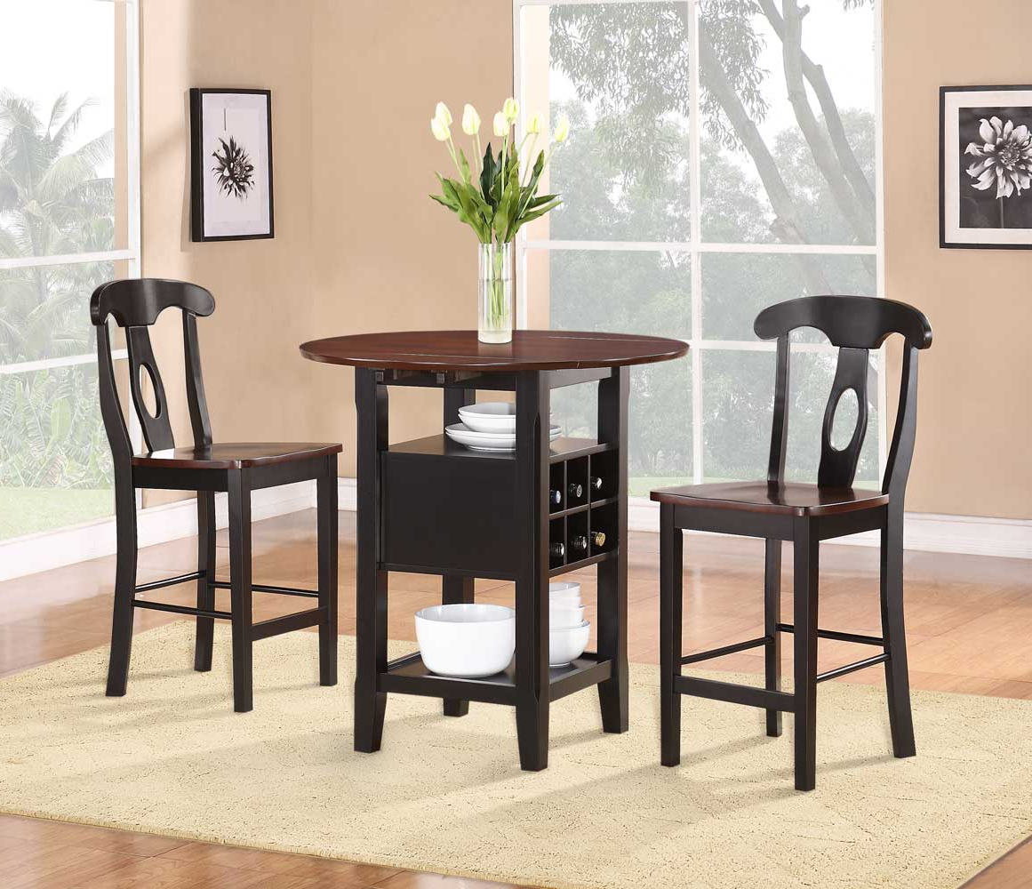 Latest Homelegance Atwood 3 Piece Counter Height Dining Set 2505Bk 36 In 3 Piece Dining Sets (View 10 of 25)