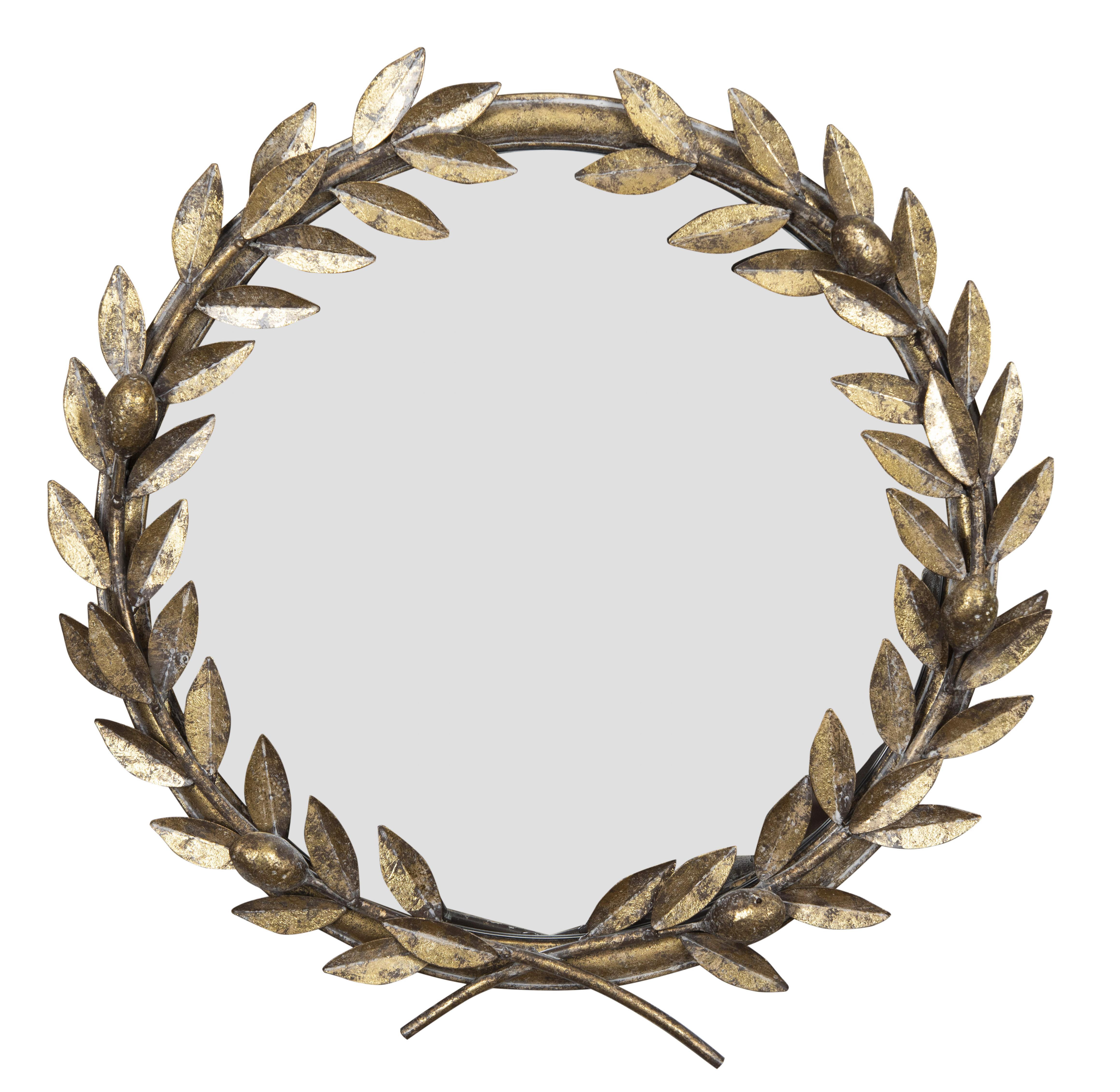Latest Kaelin 5 Piece Dining Sets Regarding Kaelin Round Laurel Wreath Industrial Accent Mirror (View 14 of 25)