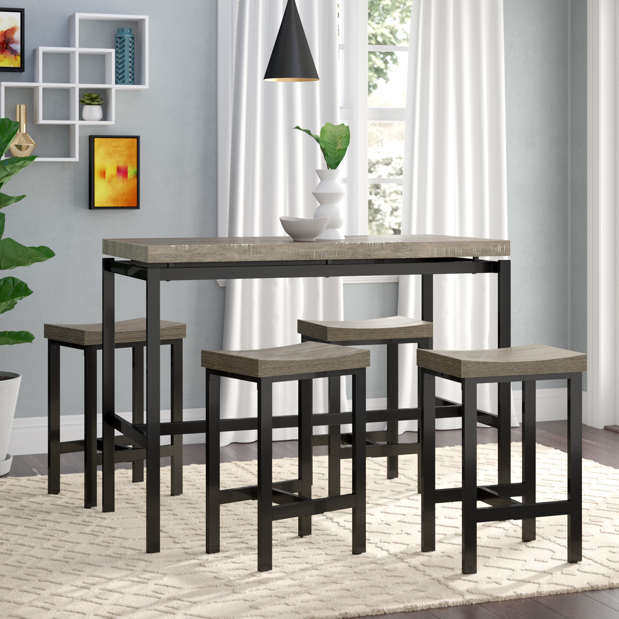 Latest Nutter 3 Piece Dining Sets For Wrought Studio Beveridge 5 Piece Dining Set & Reviews (View 8 of 25)