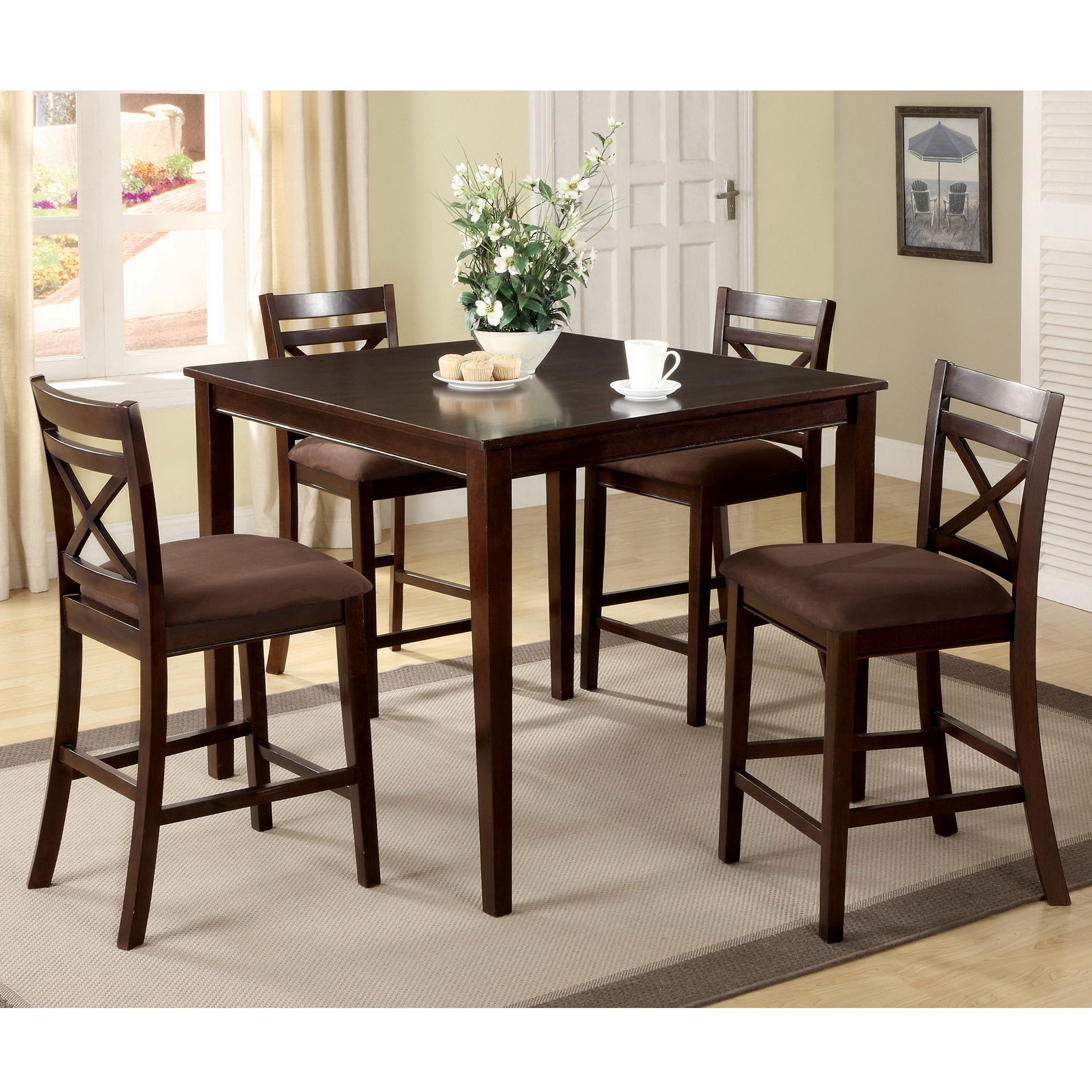 Latest Shop Copper Grove Catlerock 5 Piece Counter Height Dining Set – On With Regard To Bettencourt 3 Piece Counter Height Solid Wood Dining Sets (View 9 of 25)