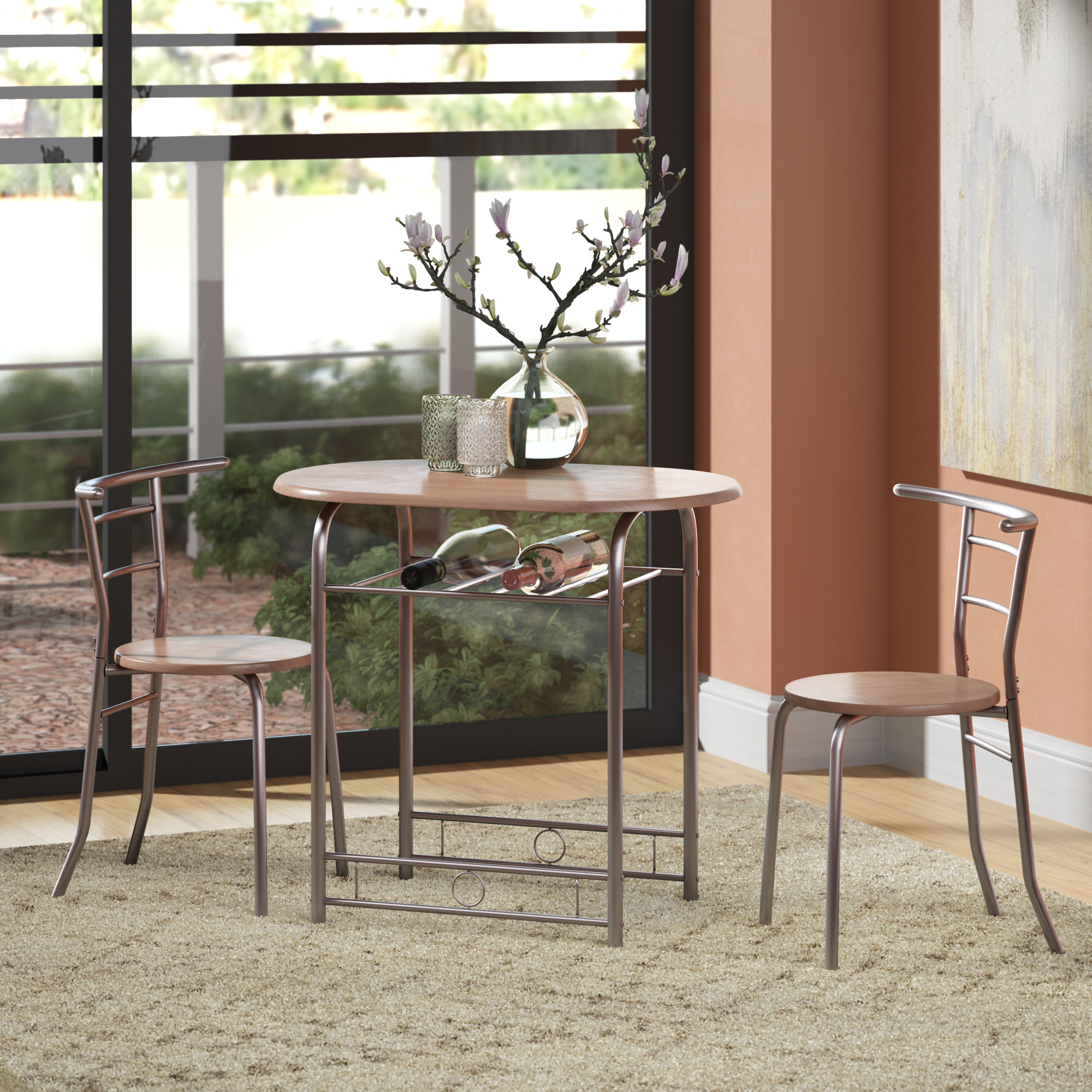 Latitude Run Shingadia Bistro 3 Piece Breakfast Nook Dining Set Intended For Most Recent 3 Piece Breakfast Nook Dinning Set (View 18 of 25)