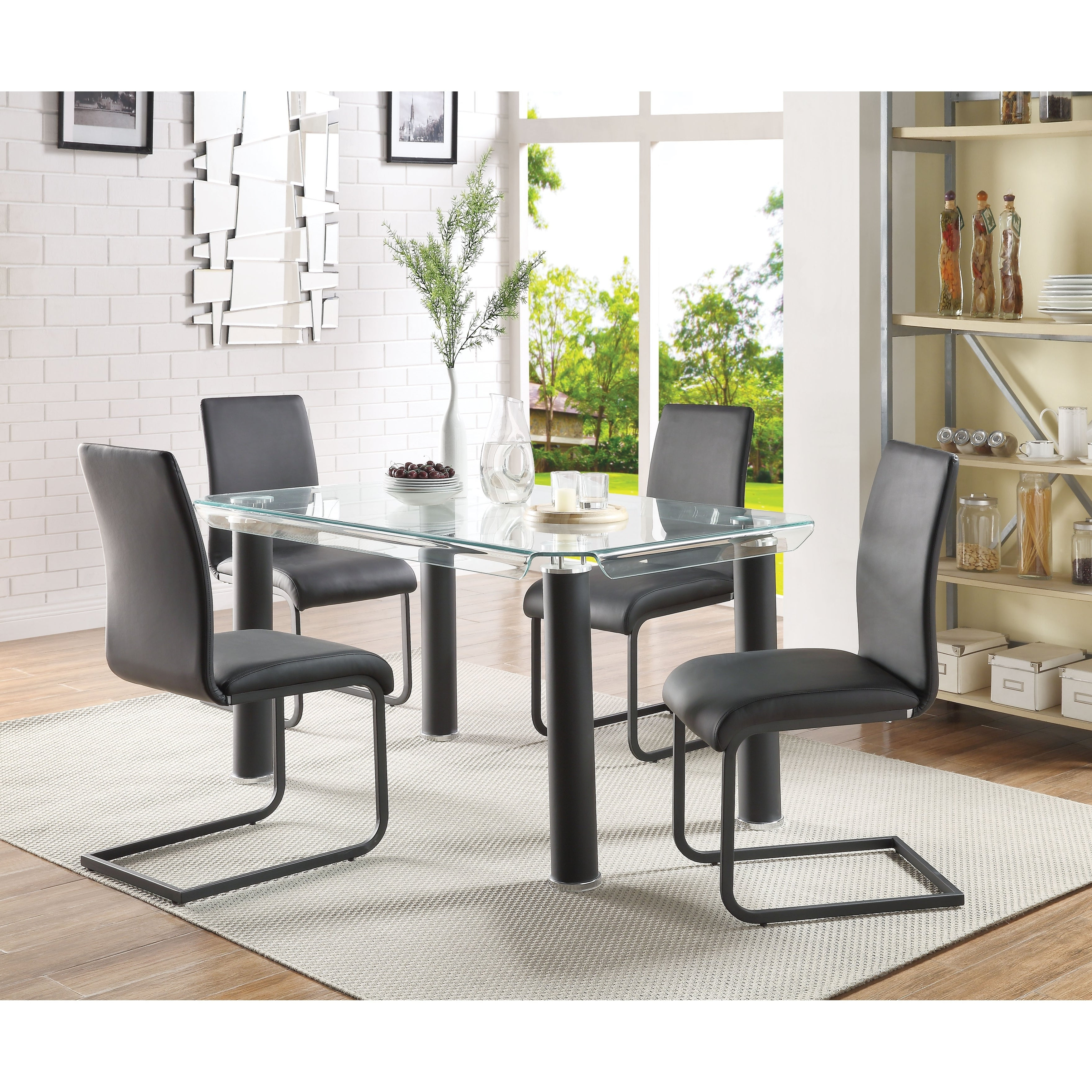 Leatherette Upholstered Side Chair With Metal Cantilever Base In Most Up To Date Mukai 5 Piece Dining Sets (View 7 of 25)