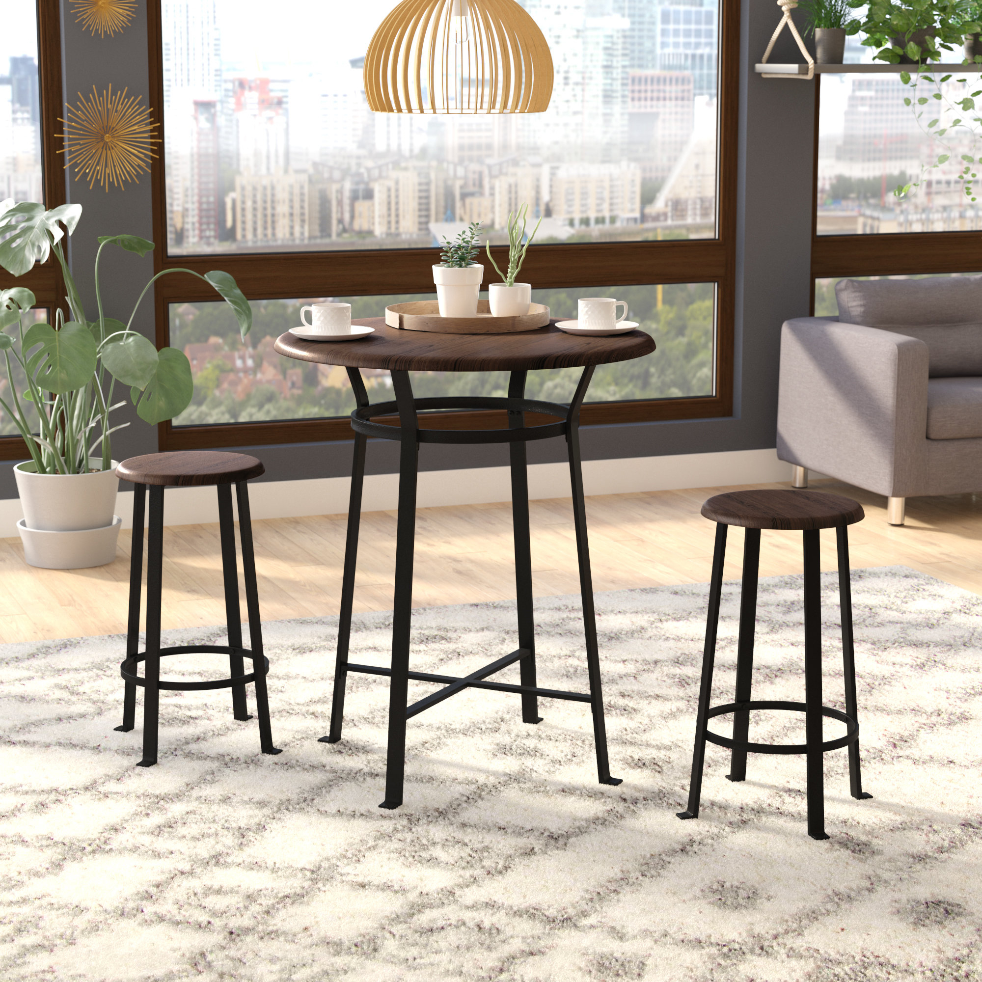 Ligon 3 Piece Breakfast Nook Dining Sets With Well Known Ebern Designs Grandview 3 Piece Solid Wood Dining Set & Reviews (View 9 of 25)