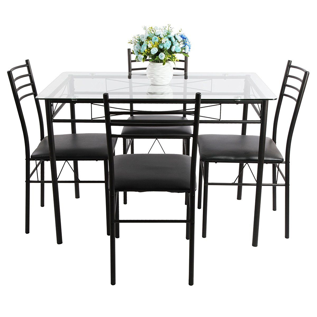 Liles 5 Piece Breakfast Nook Dining Sets For Well Known Vecelo Dining Table With 4 Chairs Black In (View 17 of 25)