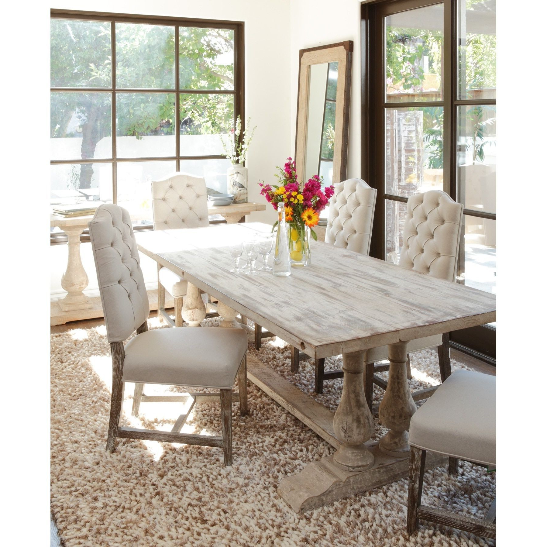 Linette 5 Piece Dining Table Sets Throughout Most Recent Kosas Home Winfrey Antique White Reclaimed Pine 98 Inch Dining Table (View 11 of 25)