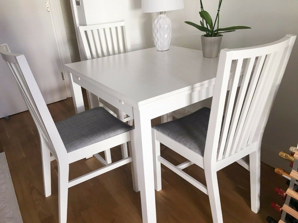 Lonon 3 Piece Dining Sets In Recent Ikea Ekedalen Extendable White Table + 3 Dining Chairs – South (View 13 of 25)
