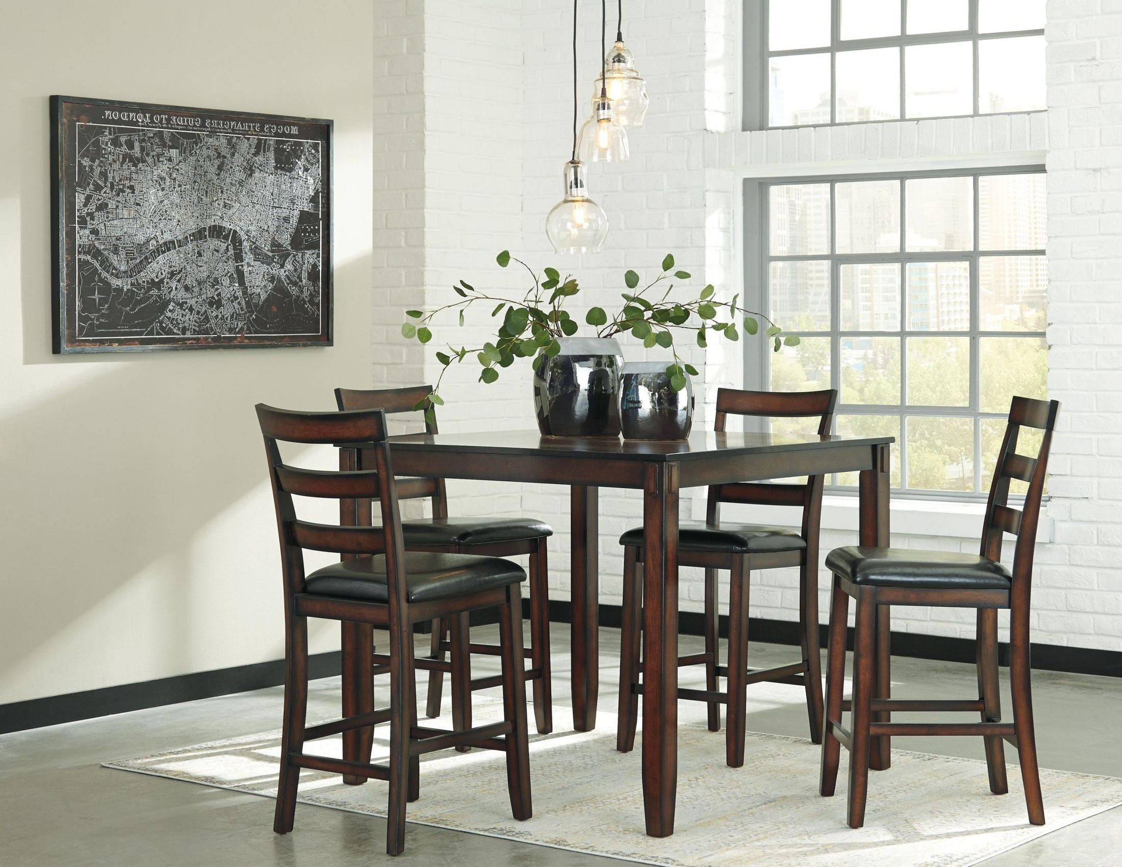 Lonon 3 Piece Dining Sets Pertaining To Most Recently Released Coviar Brown 5 Piece Counter Height Dining Room Set From Ashley (View 15 of 25)