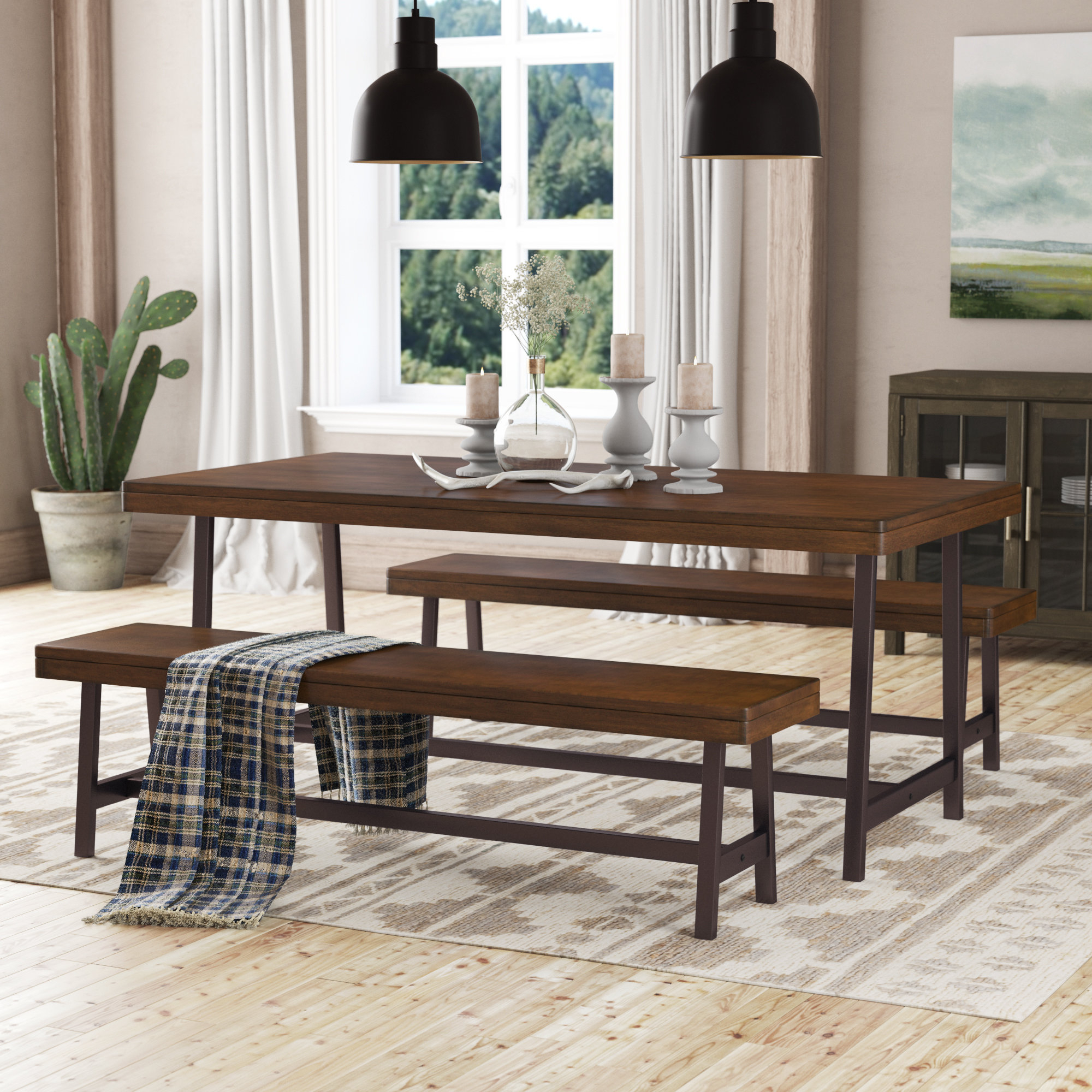 Loon Peak Huntington 3 Piece Dining Set (View 6 of 25)