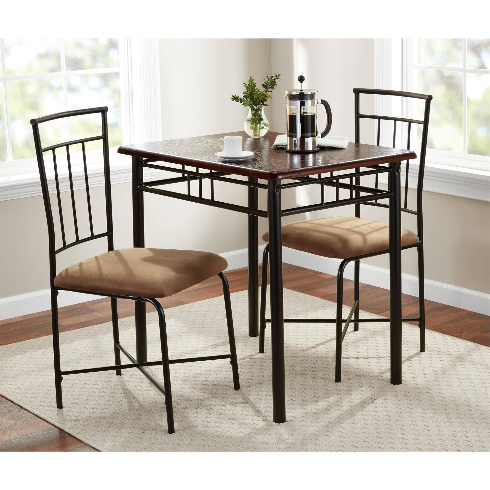 Mainstays 3 Piece Dining Set, Wood And Metal – Walmart For Best And Newest Bearden 3 Piece Dining Sets (View 15 of 25)