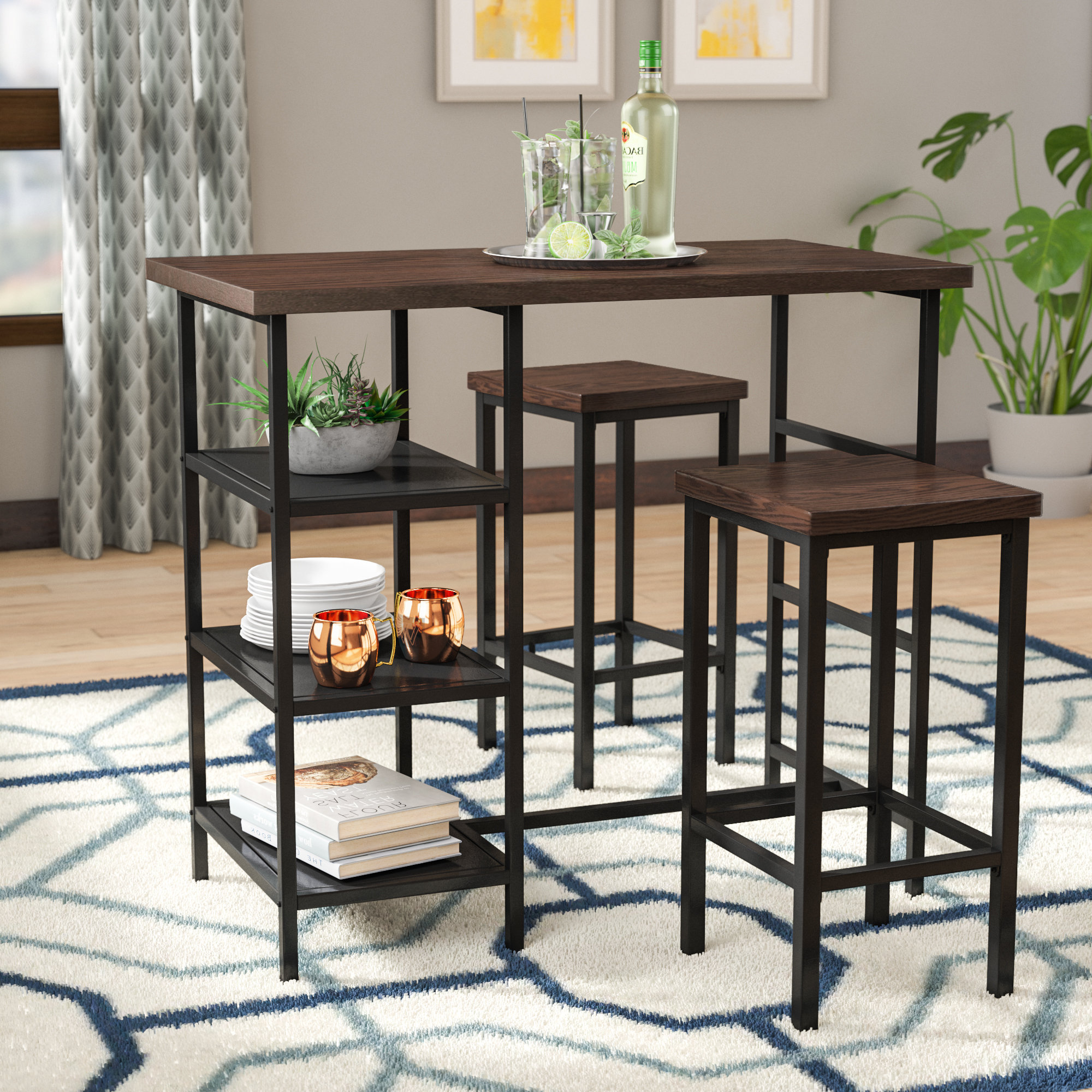 Maloney 3 Piece Breakfast Nook Dining Sets Pertaining To Well Known Ivy Bronx Du Bois 3 Piece Pub Table Set & Reviews (View 8 of 25)