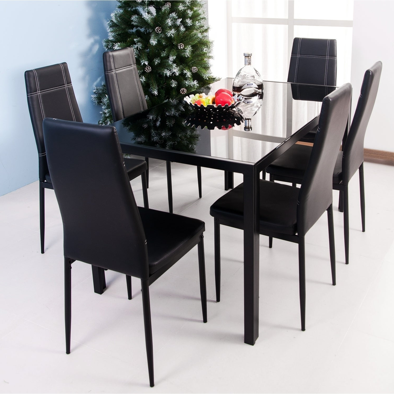 Maynard 5 Piece Dining Sets With Newest Shop Merax 7 Piece Dining Set Glass Top Metal Table 6 Person Table (View 10 of 25)