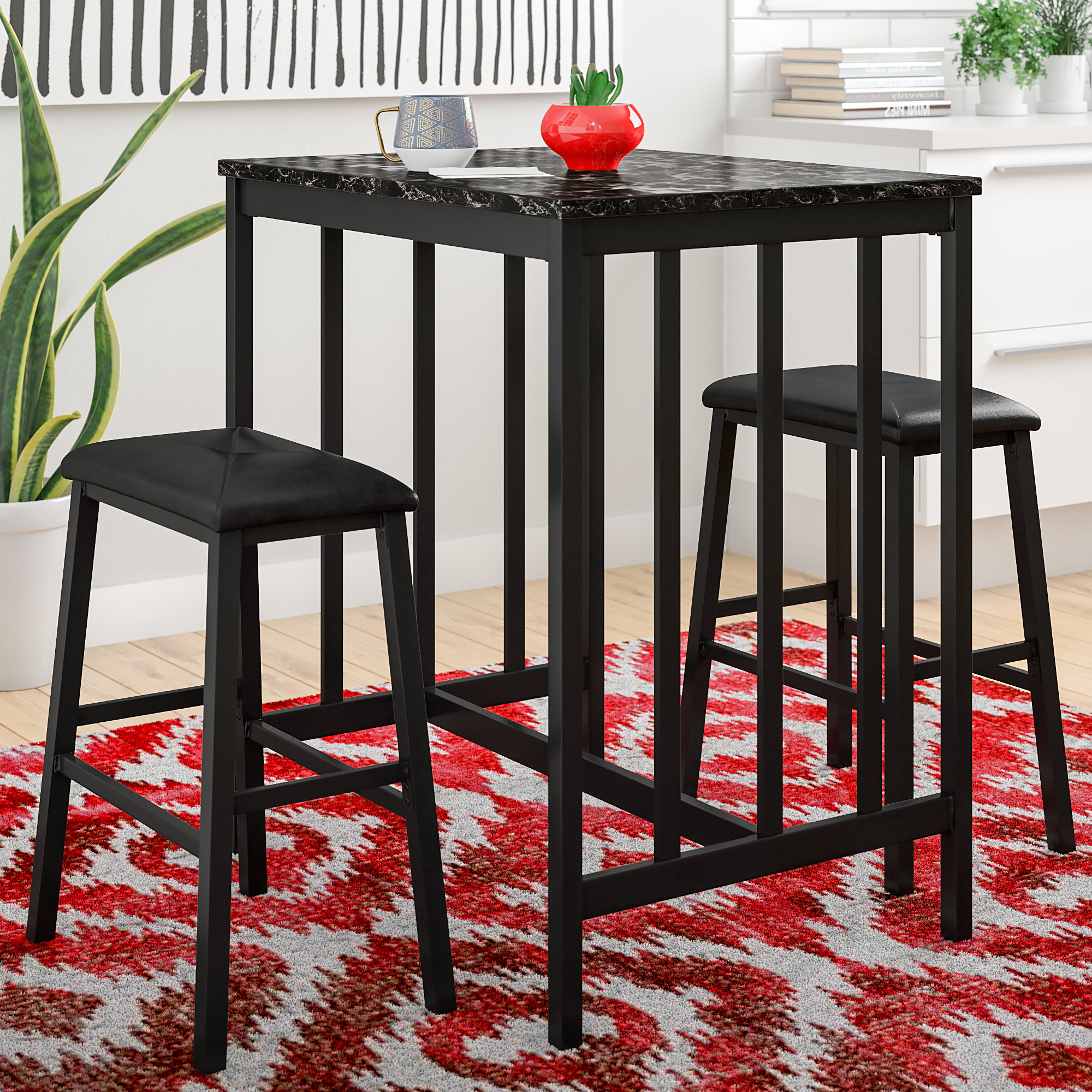 Miskell 3 Piece Dining Sets Intended For Popular Andover Mills Della 3 Piece Pub Table Set & Reviews (View 10 of 25)