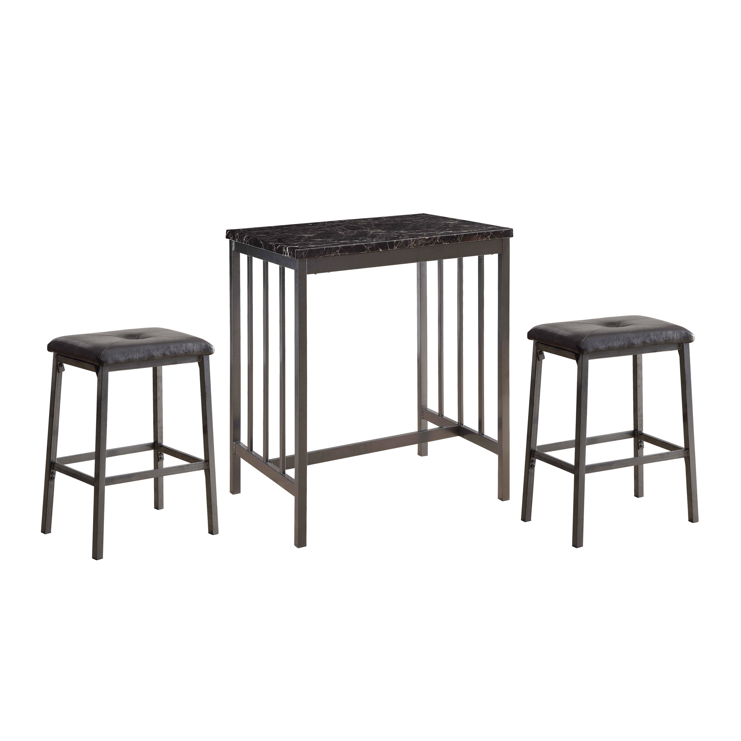 Miskell 3 Piece Dining Sets Regarding Most Recent Winston Porter Acme Venator 3 Pieces Pack Counter Height Set In Grey (View 15 of 25)