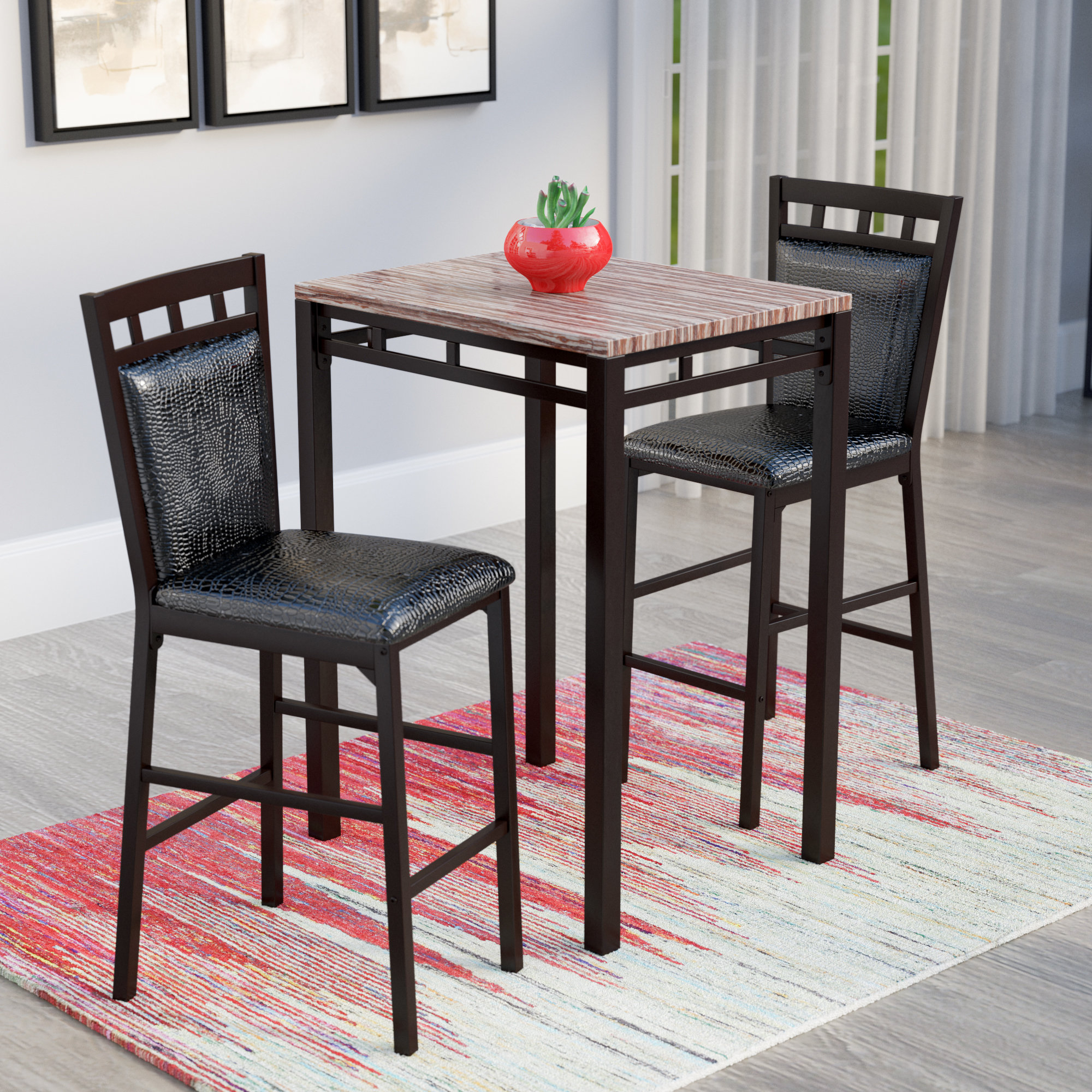 Miskell 3 Piece Dining Sets With Regard To Well Known Latitude Run Eric 3 Piece Pub Table Set & Reviews (View 14 of 25)