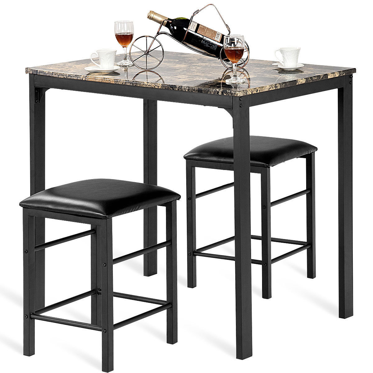 Miskell 5 Piece Dining Sets Inside Latest Winston Porter Mitzel 3 Piece Dining Set & Reviews (View 12 of 25)