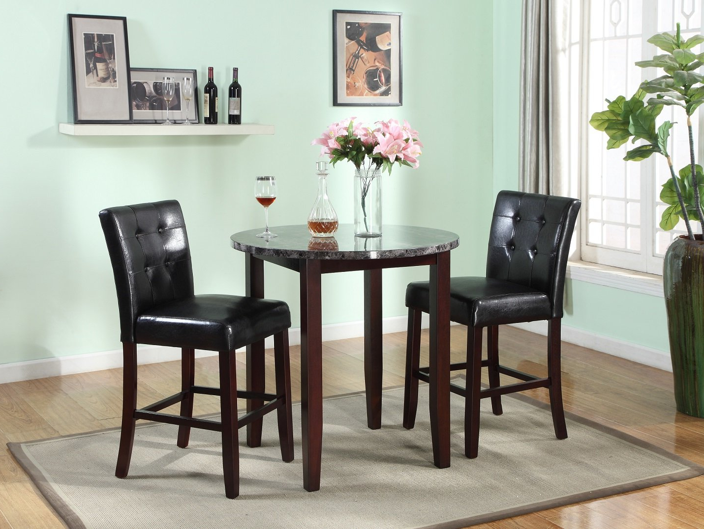 Mizpah 3 Piece Counter Height Dining Sets Intended For Widely Used Red Barrel Studio Janmarie 3 Piece Counter Height Dining Set (View 5 of 25)