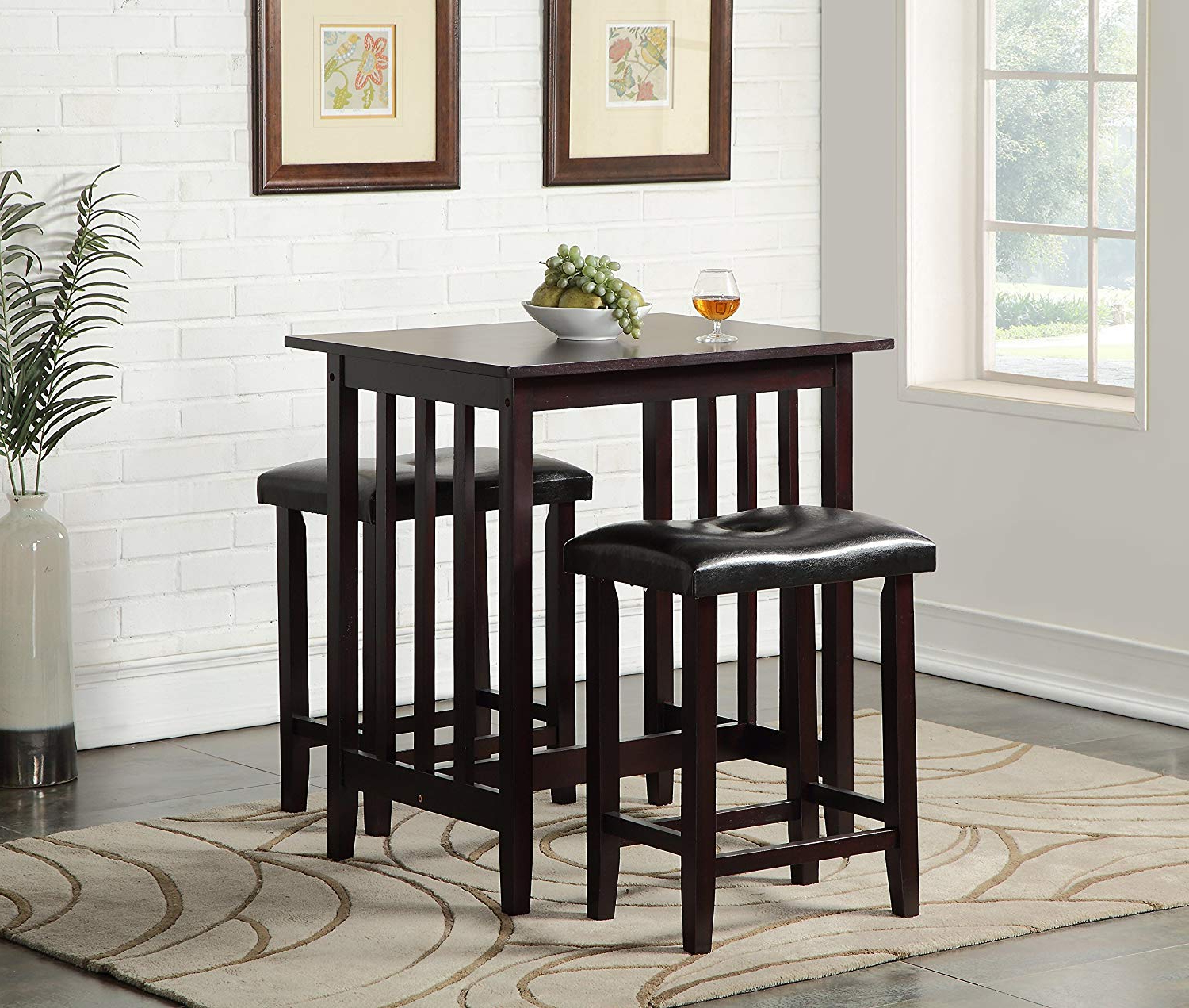 Moorehead 3 Piece Counter Height Dining Sets Inside Current Amazon – Roundhill Furniture 3 Piece Counter Height Dining Set (View 9 of 25)