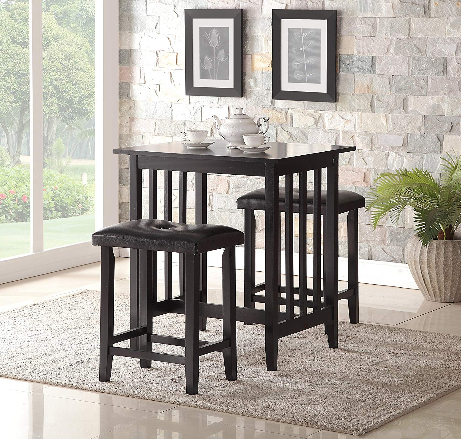 Moorehead 3 Piece Counter Height Dining Sets Intended For Newest Amazon – Roundhill Furniture 3 Piece Counter Height Dining Set (View 10 of 25)