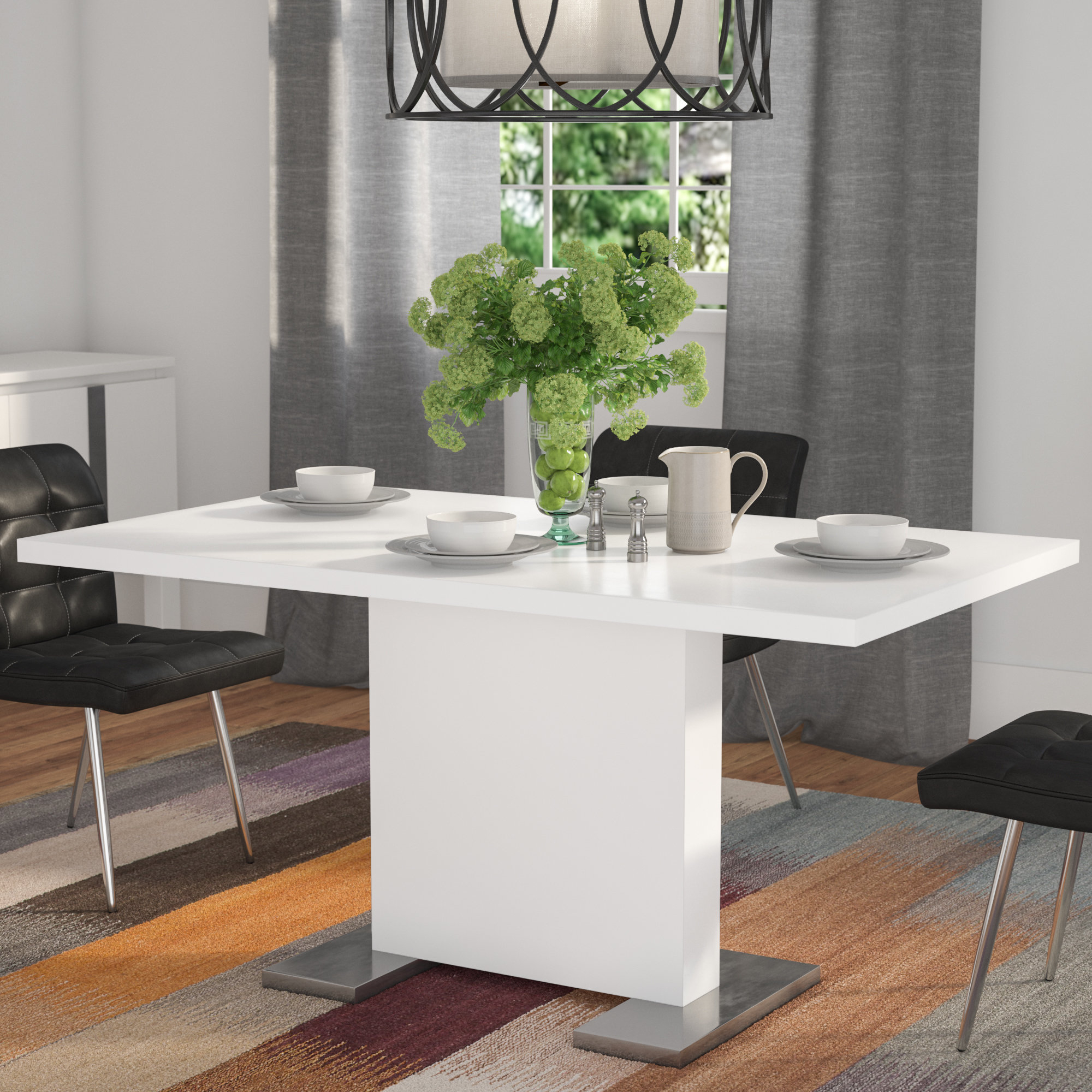 Moorehead 3 Piece Counter Height Dining Sets Regarding Trendy Latitude Run Moorhead Dining Table & Reviews (View 11 of 25)