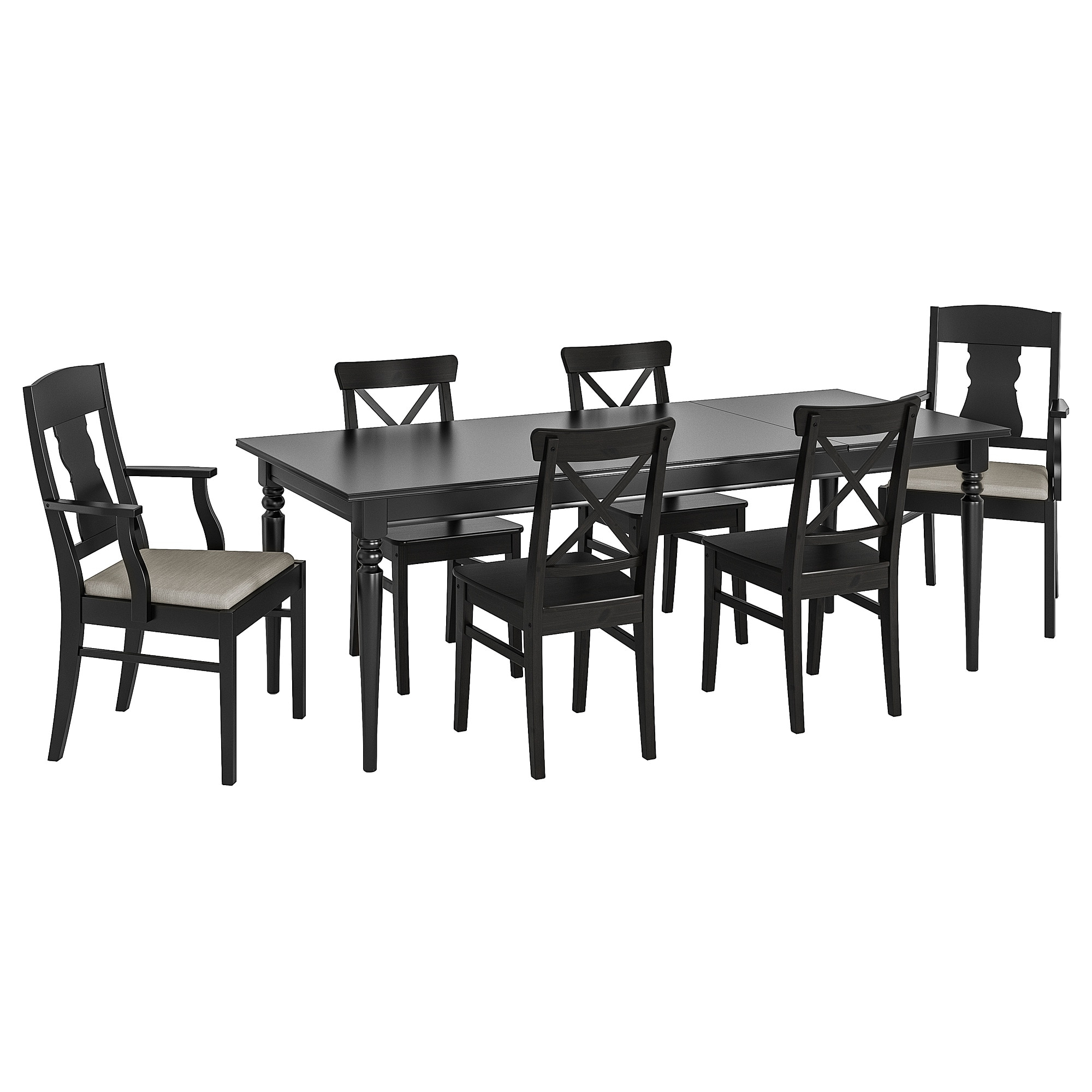 Most Current Castellanos Modern 5 Piece Counter Height Dining Sets With Regard To Ingatorp / Ingolf Table And 6 Chairs – Black, Nolhaga Grey/beige – Ikea (View 15 of 25)