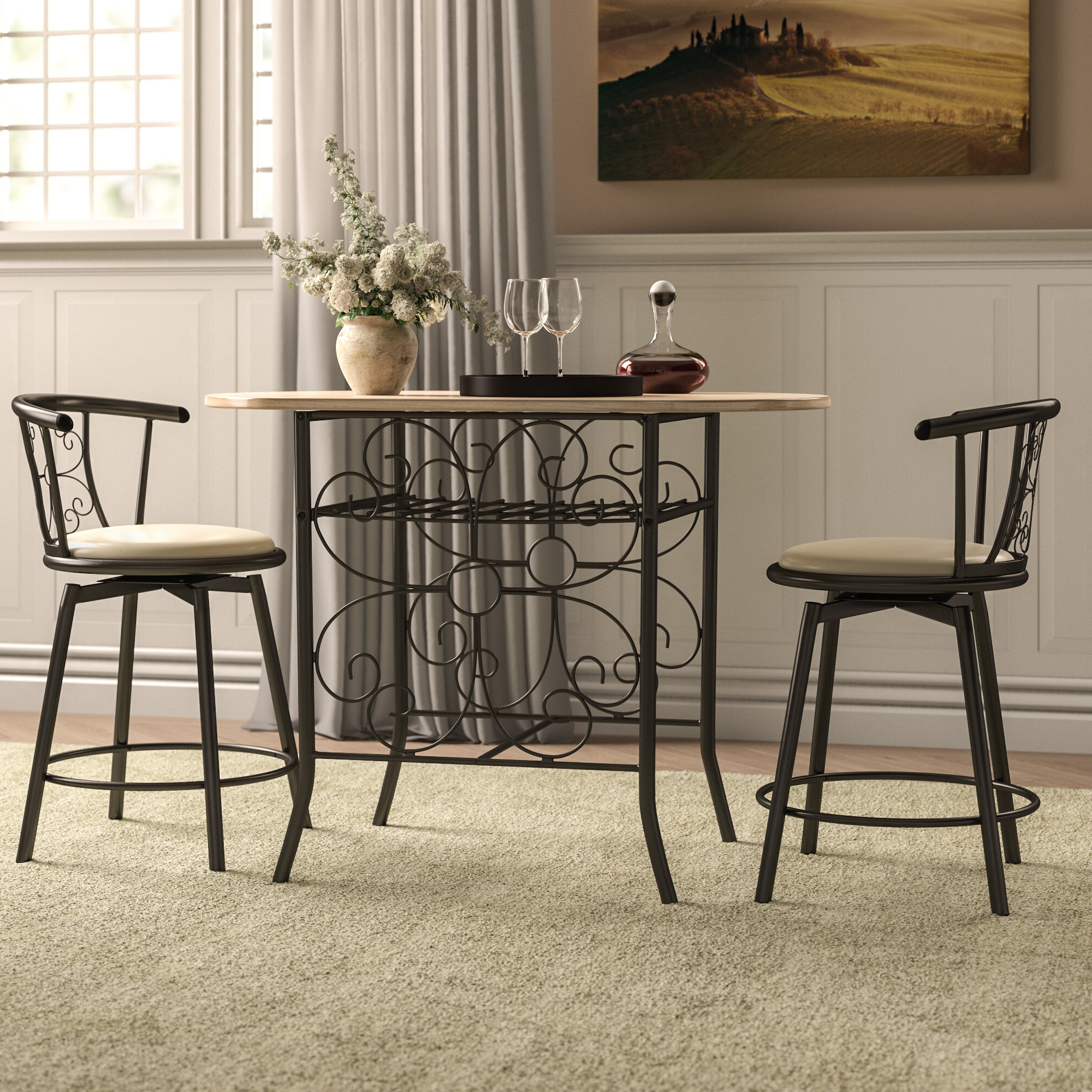Most Current Fleur De Lis Living Askerby Scroll Design Bistro 3 Piece Dining Set For Askern 3 Piece Counter Height Dining Sets (Set Of 3) (View 13 of 25)
