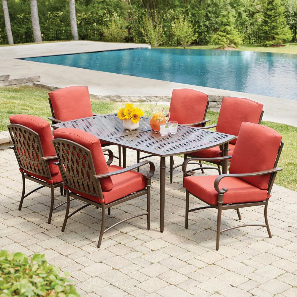 Most Current Hampton Bay Oak Cliff 7 Piece Metal Outdoor Dining Set With 6 In Adan 5 Piece Solid Wood Dining Sets (Set Of 5) (View 25 of 25)