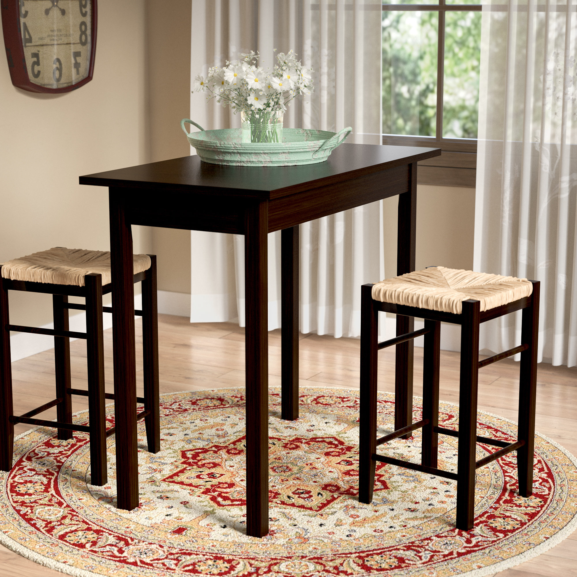 Most Current Kernville 3 Piece Counter Height Dining Sets Intended For August Grove Tenney 3 Piece Counter Height Dining Set & Reviews (View 15 of 25)