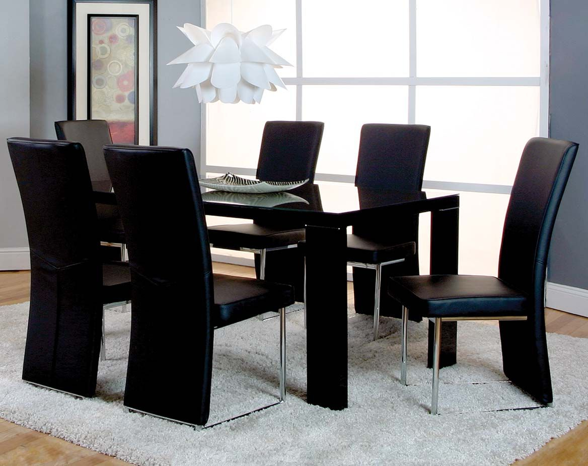 Most Current Modern, Black5 Piece Dining Set (View 18 of 25)