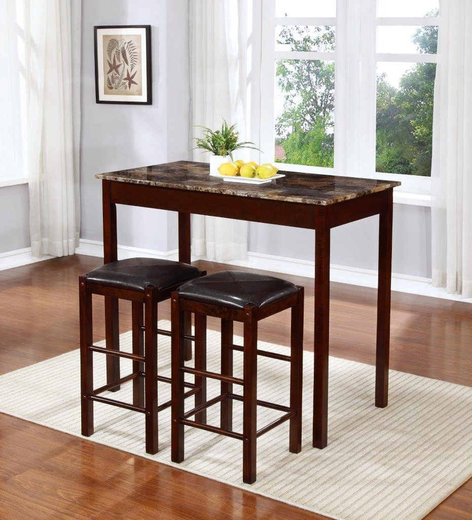 Most Current Penelope 3 Piece Counter Height Wood Dining Sets With Regard To Winston Porter Rockford 3 Piece Faux Marble Counter Height Pub Table (View 18 of 25)