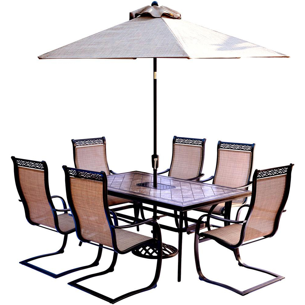 Most Current Saintcroix 3 Piece Dining Sets In Hanover Monaco 7 Piece Outdoor Dining Set With Rectangular Tile Top (View 8 of 25)