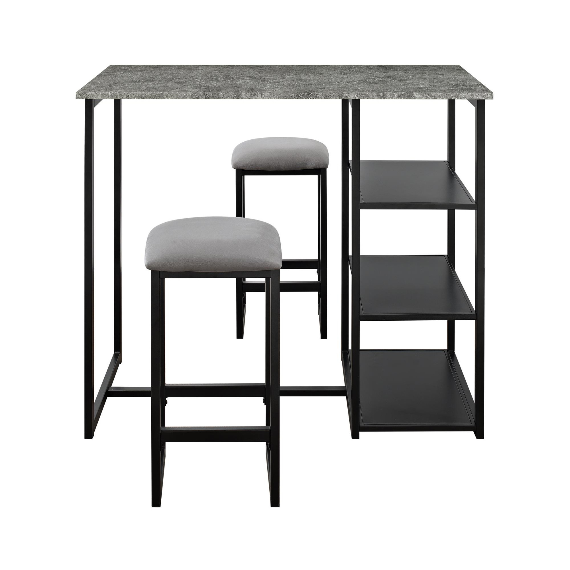 Most Current Visby 3 Piece Pub Set With Faux Concrete Top Gray / Black – Dorel Throughout Moorehead 3 Piece Counter Height Dining Sets (View 19 of 25)