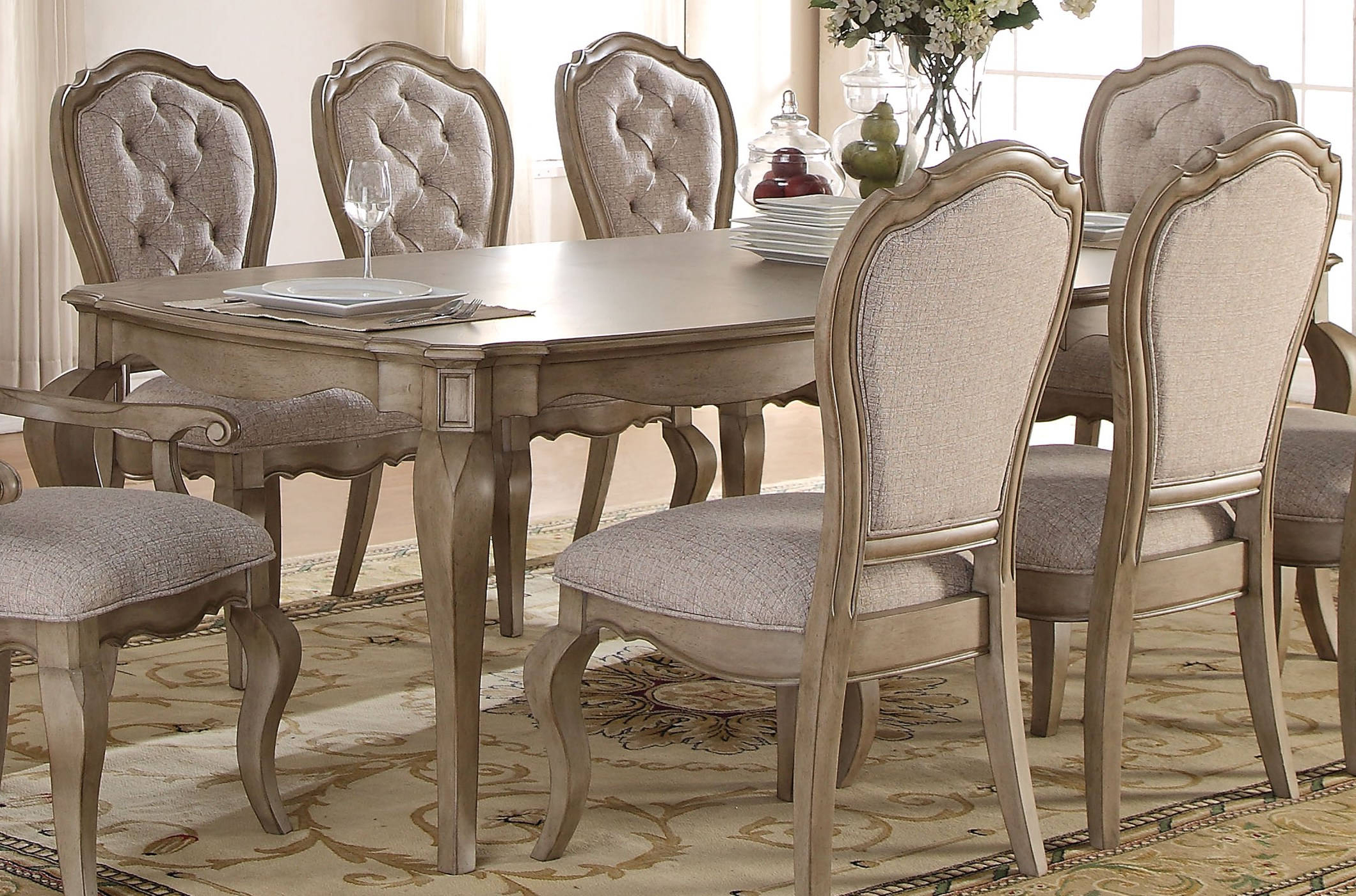 Most Popular Acme Furniture Chelmsford Antique Taupe Dining Table (View 13 of 25)
