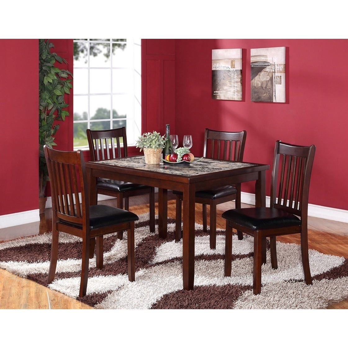 Most Popular Aria 5 Piece Dining Sets Pertaining To Shop 5 Piece Wooden Dining Set In Dark Brown With Artificial Marble (View 12 of 25)