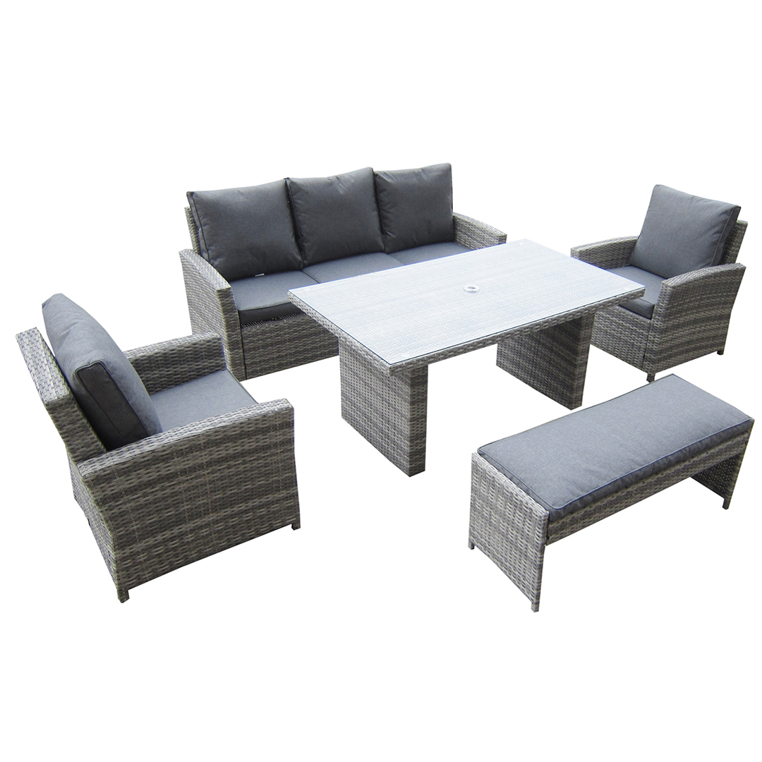 Most Popular Chelmsford 3 Piece Dining Sets Inside Kensington Malmo 5Pc Sofa Set – 2 Armchairs, 3 Seat Sofa, Dining (View 17 of 25)