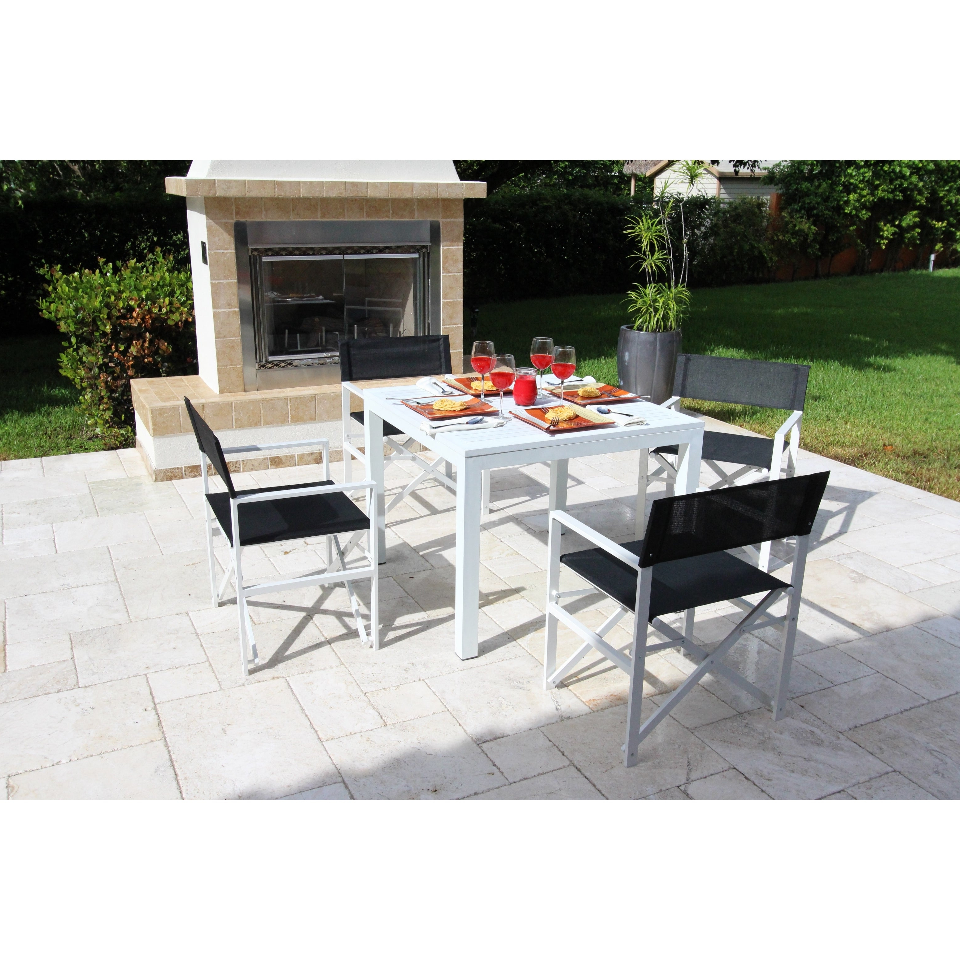 Most Popular Delmar 5 Piece Dining Sets In Shop Del Mar White Director Chair 5 Piece Dining Set – Free Shipping (View 8 of 25)