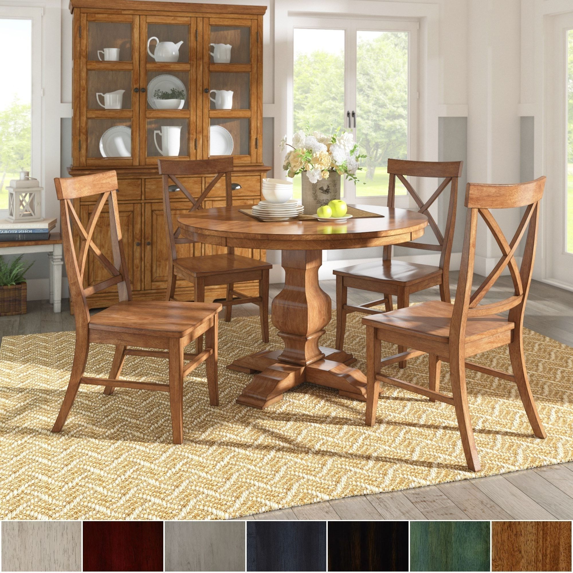 Most Popular Ephraim 5 Piece Dining Sets Intended For Eleanor Oak Finish Wood 5 Piece Round Table X Back Chairs Dining Set (View 15 of 25)