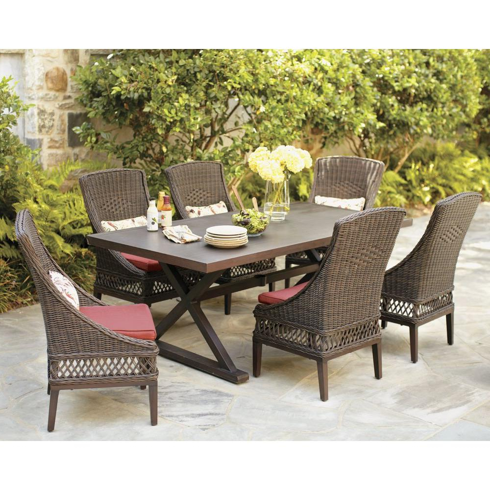Most Popular Hampton Bay Woodbury 7 Piece Wicker Outdoor Patio Dining Set With In Smyrna 3 Piece Dining Sets (View 25 of 25)