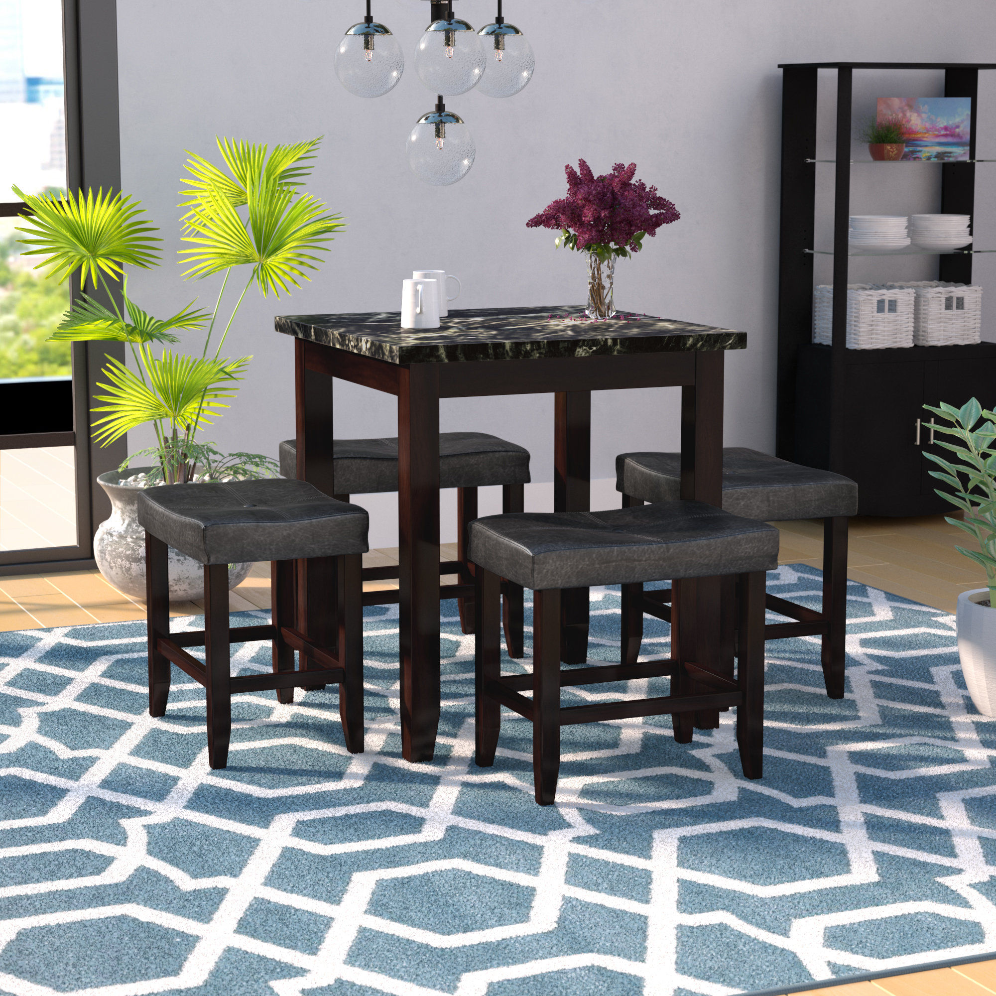 Most Popular Latitude Run Dehaven 5 Piece Counter Height Dining Set & Reviews Intended For Nutter 3 Piece Dining Sets (View 19 of 25)