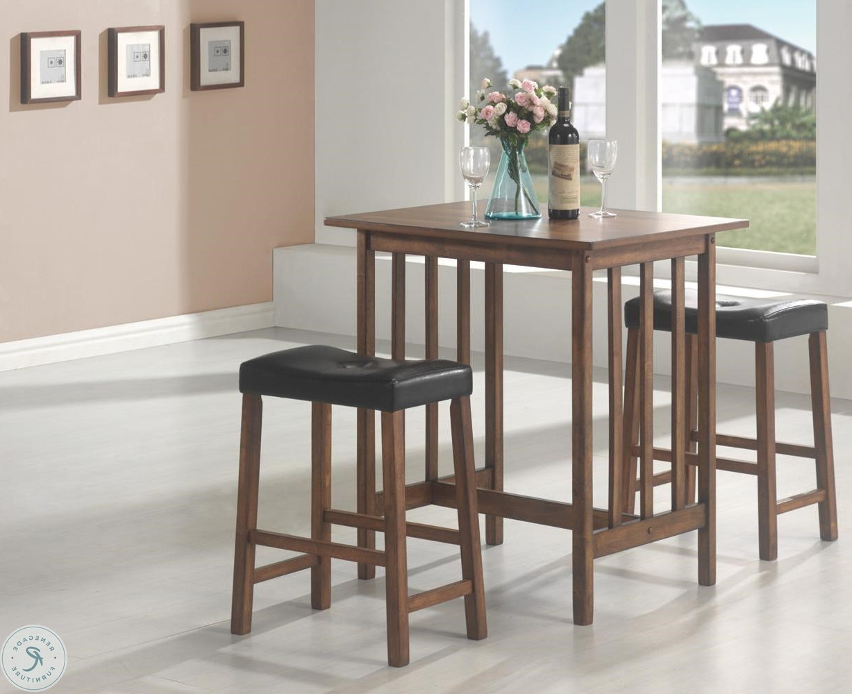 Most Popular Penelope 3 Piece Counter Height Wood Dining Sets Inside Black 3 Pcs Counter Height Dining & Dinette Set 130004 From Coaster (View 9 of 25)