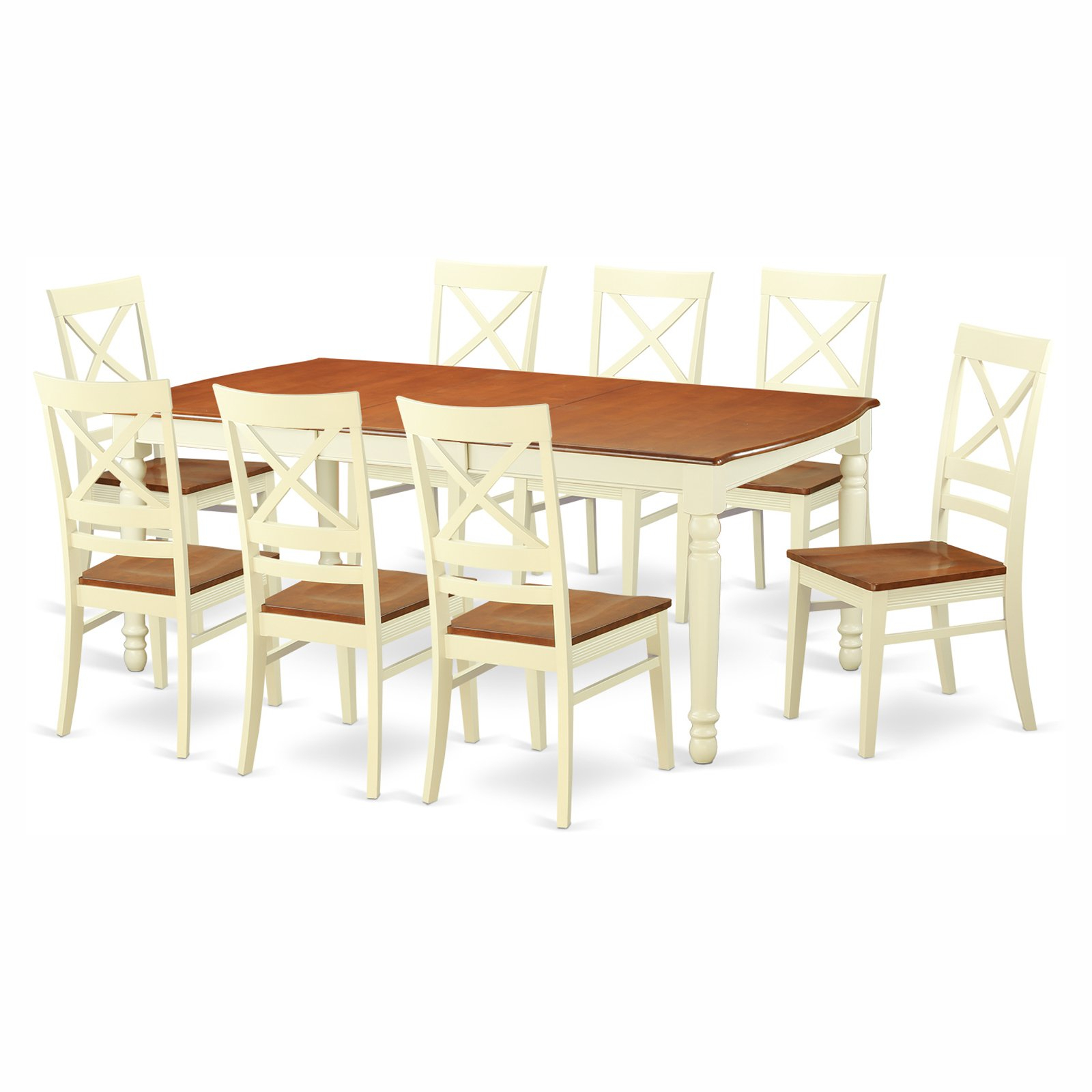 Most Popular Sundberg 5 Piece Solid Wood Dining Sets Pertaining To East West Furniture Dover 9 Piece Extension Rectangular Dining Table (View 18 of 25)