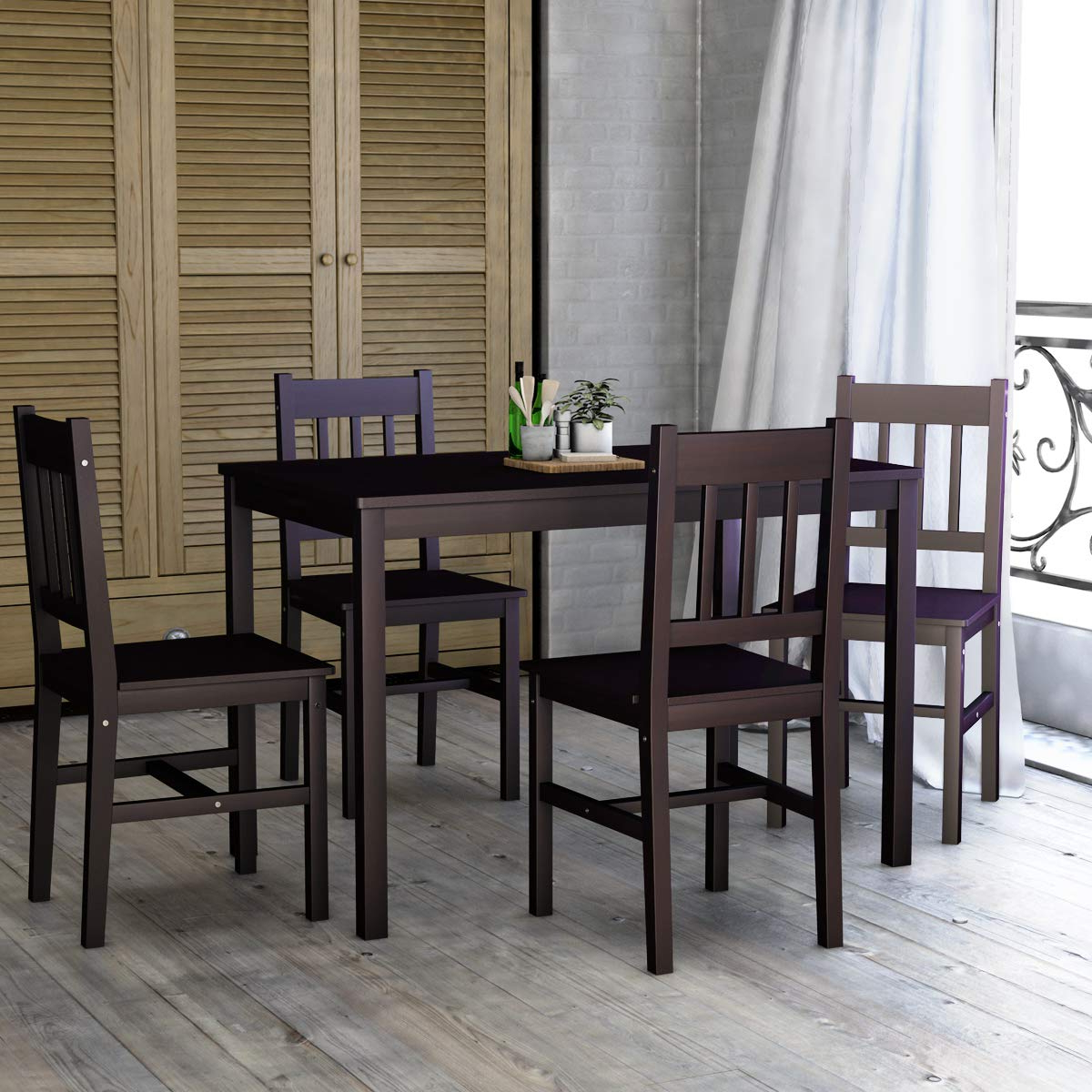 Most Popular Sundberg 5 Piece Solid Wood Dining Sets Pertaining To Giantex 5 Piece Wood Dining Table Set 4 Chairs Home Kitchen (View 9 of 25)