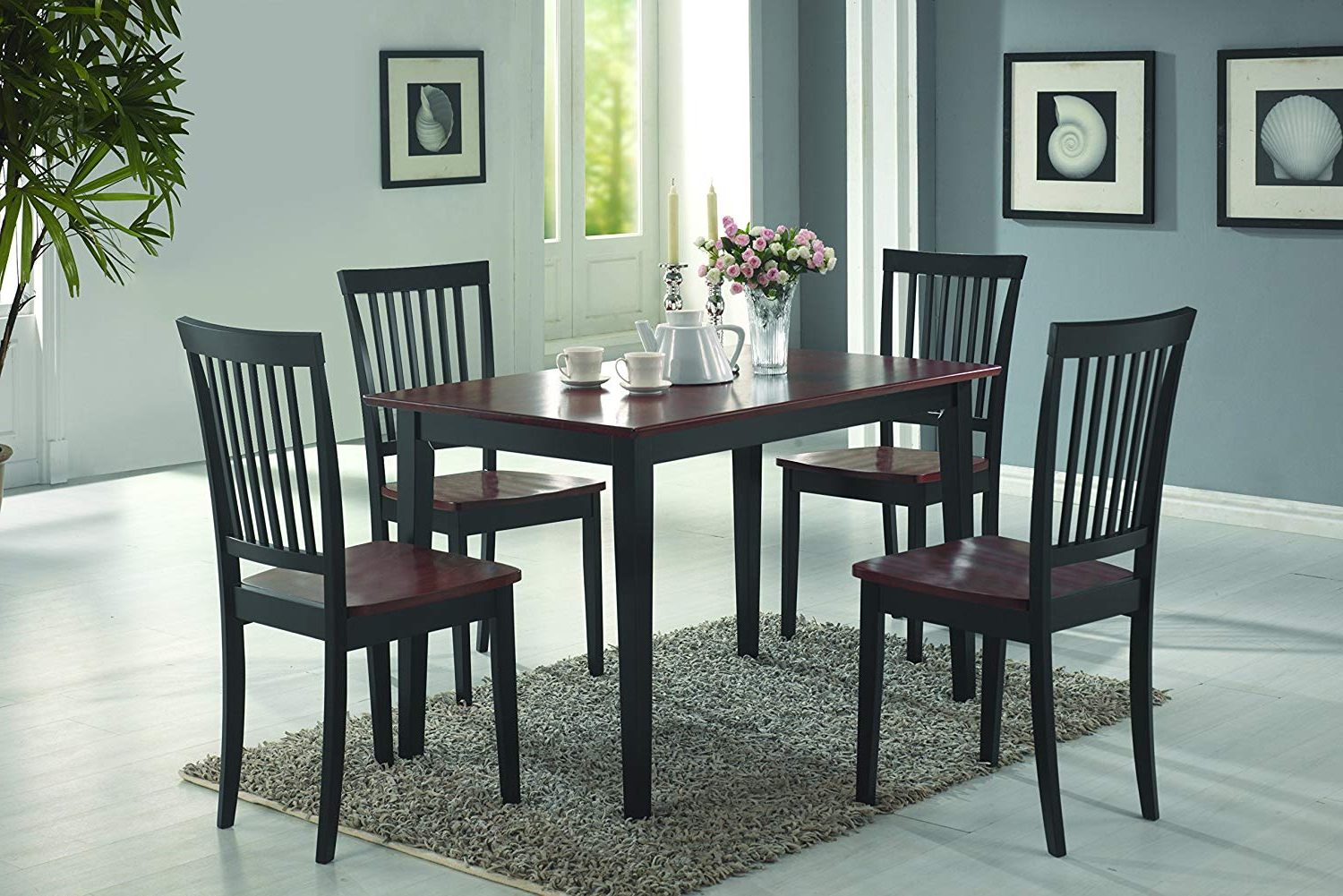 Most Recent Amazon – Coaster 5 Piece Dining Set, Table Top With 4 Chairs For Kieffer 5 Piece Dining Sets (View 20 of 25)
