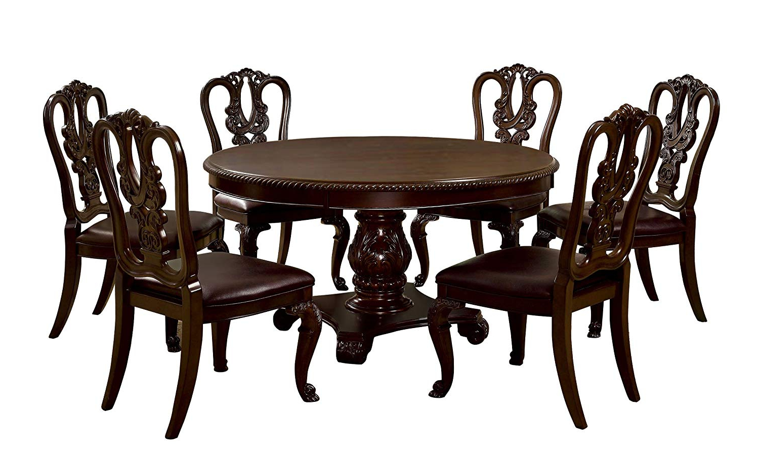 Most Recent Amazon – Furniture Of America Evangelyn 7 Piece Dining Set With Pertaining To Linette 5 Piece Dining Table Sets (View 19 of 25)