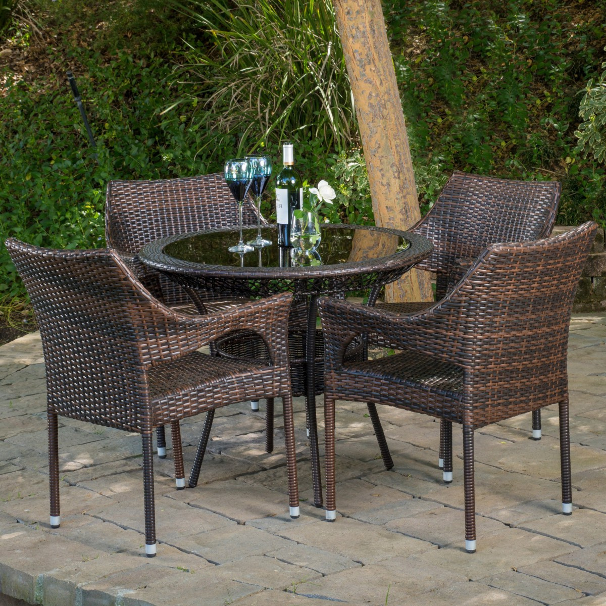 Most Recent Delmar 5 Piece Dining Sets In Del Mar Wicker 5 Piece Outdoor Dining Set With 34Quot Round (View 10 of 25)