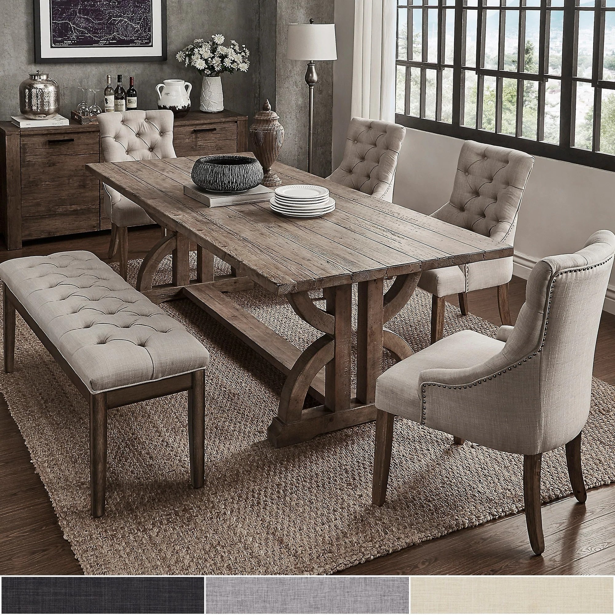 Most Recent Falmer 3 Piece Solid Wood Dining Sets Throughout Buy Farmhouse Kitchen & Dining Room Sets Online At Overstock (View 2 of 25)