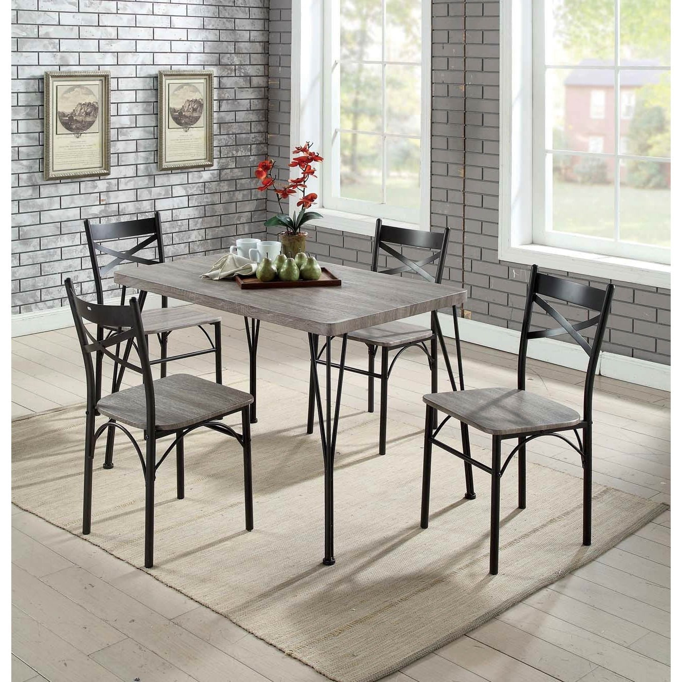 Most Recent Furniture Of America Hathway Industrial 5 Piece Dark Bronze Small With Bearden 3 Piece Dining Sets (View 8 of 25)
