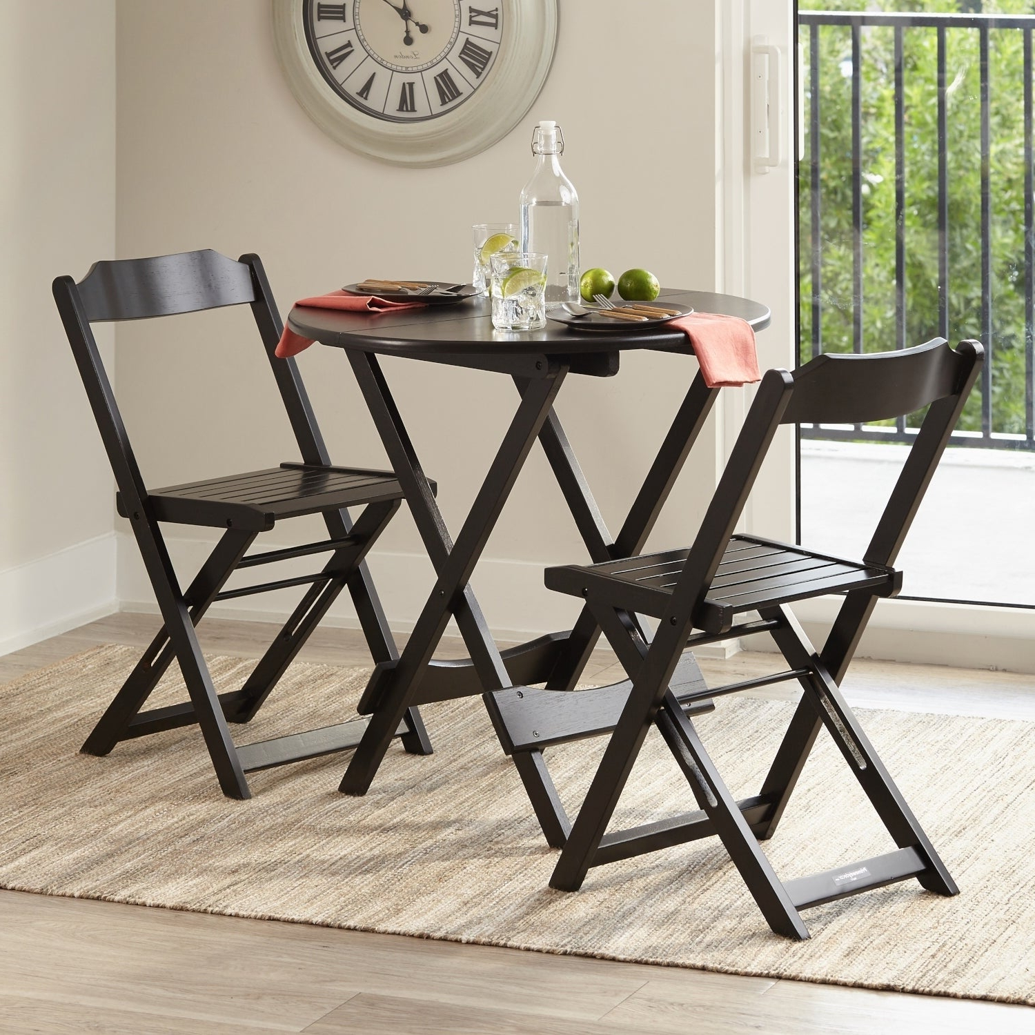 Most Recent Lonon 3 Piece Dining Sets Pertaining To Shop Bistro Set 3 Piece Outdoor Dining Set Round Table Folding (View 10 of 25)