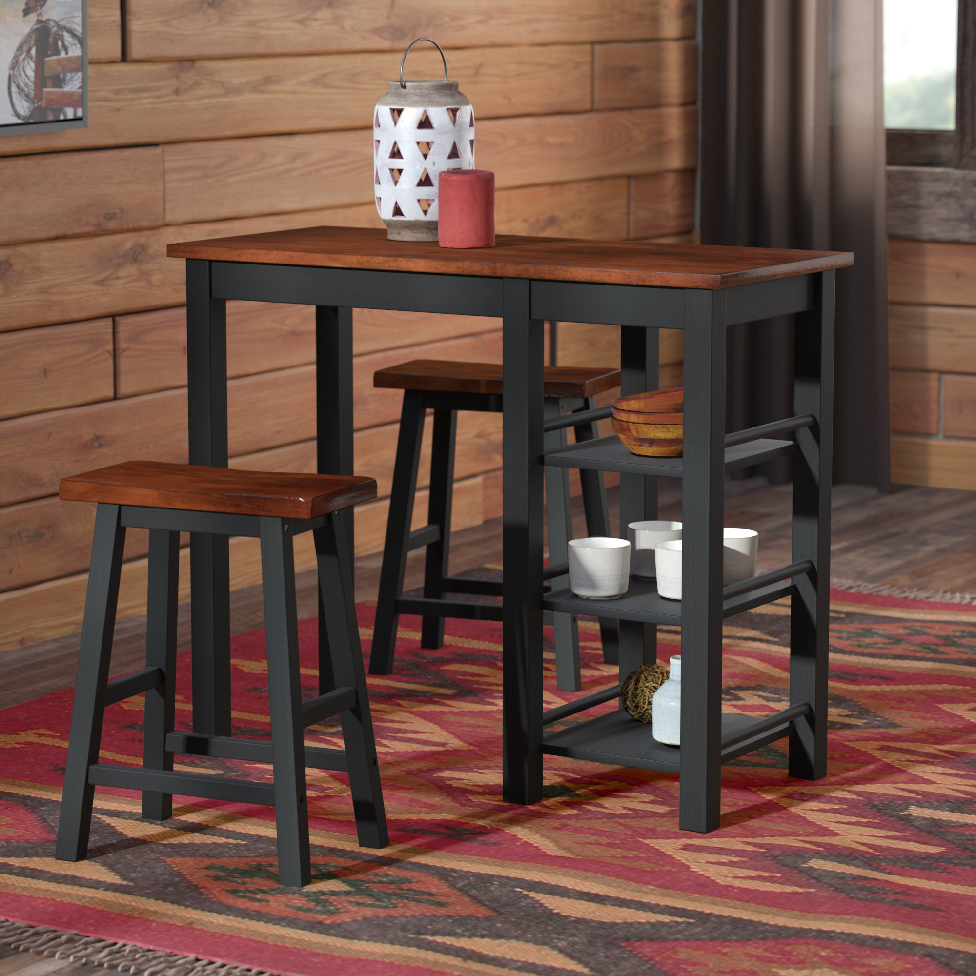 Most Recent Loon Peak Berrios 3 Piece Counter Height Dining Set & Reviews (View 11 of 25)