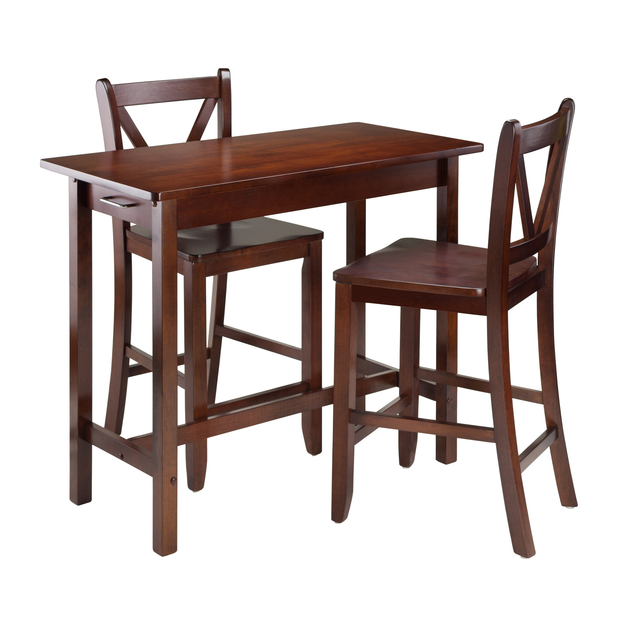 Most Recent Winsome 3 Piece Counter Height Dining Sets Throughout Winsome Kitchen Island 3 Piece Counter Height Dining Set & Reviews (View 7 of 25)
